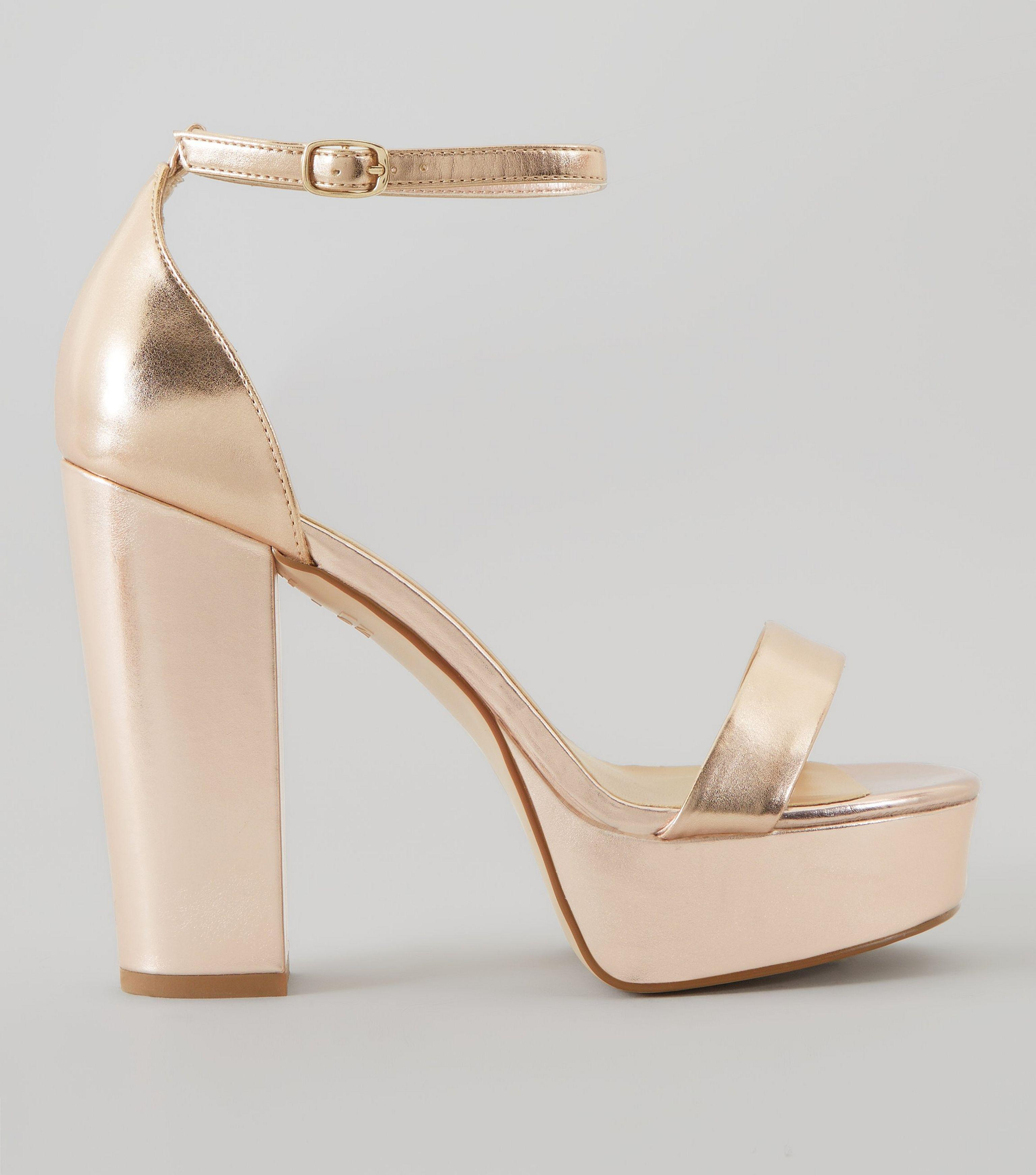 a82236918d8 New Look Wide Fit Rose Gold Metallic Platform Heels in Metallic - Lyst