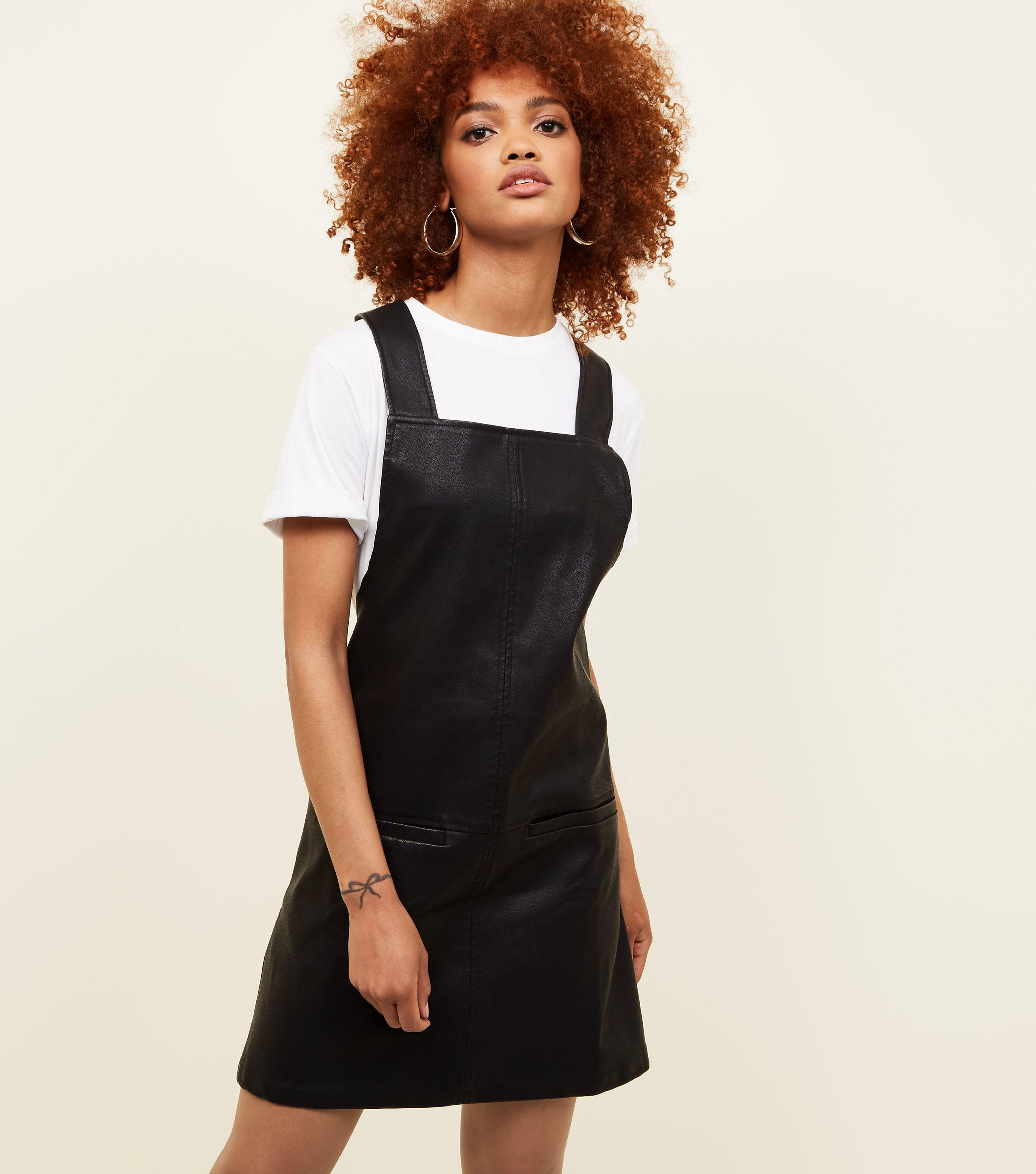 b81ae0f1a3b1bc New Look Black Leather-look Pinafore Dress in Black - Lyst
