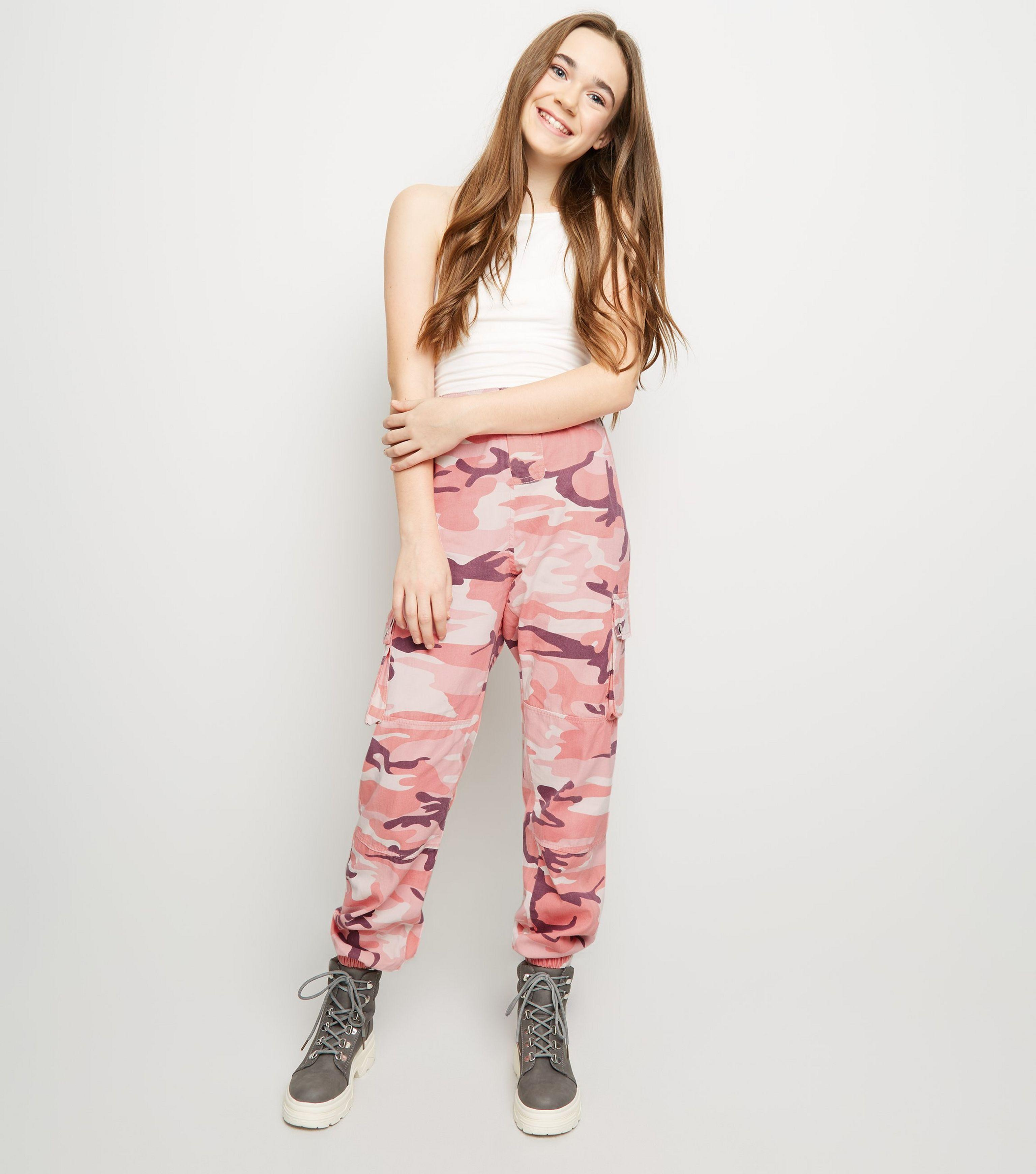 extremely unique fast color 60% cheap New Look Girls Mid Pink Camo Utility Trousers