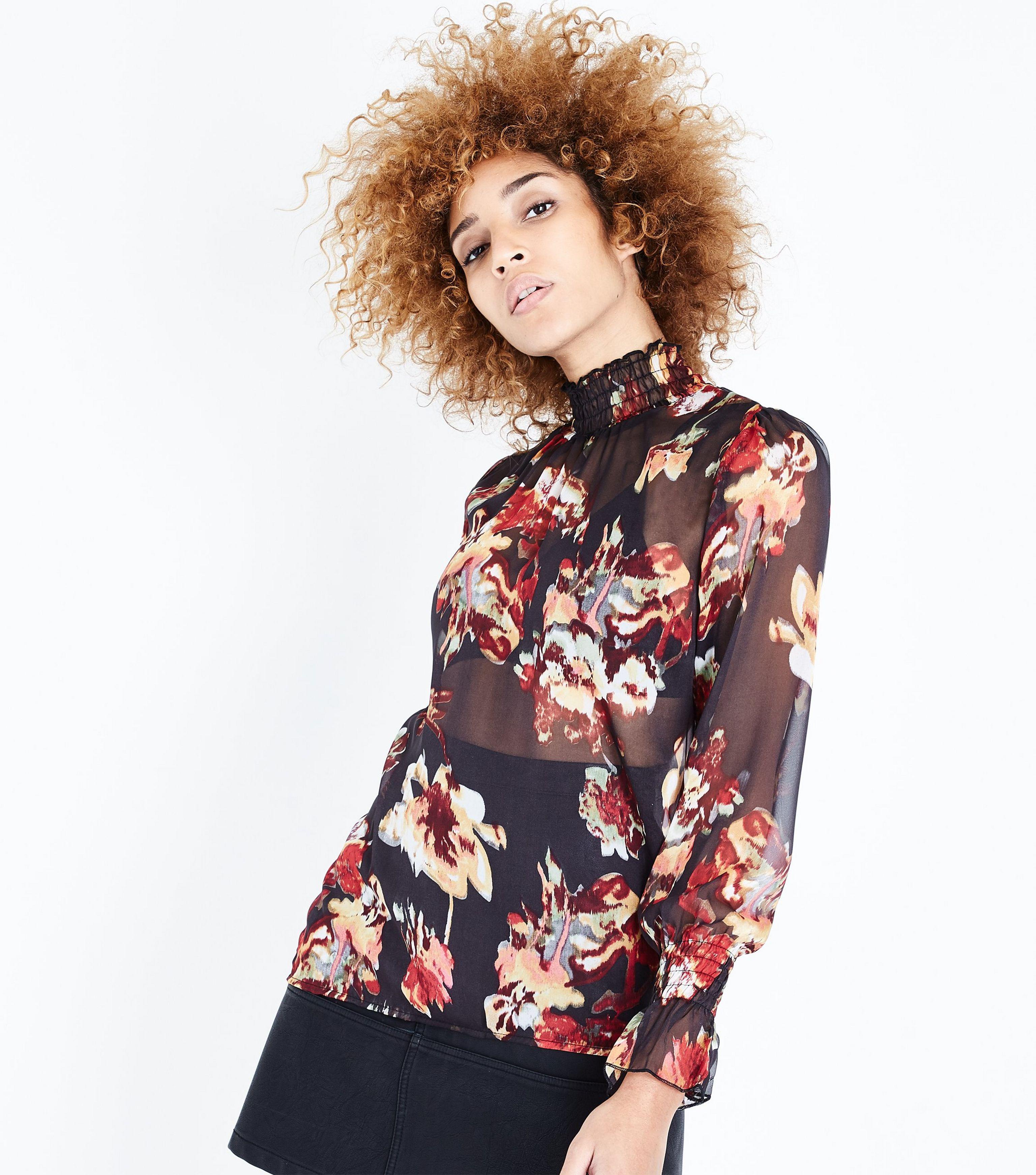 1a127311826e8 AX Paris Black Floral Print Chiffon Funnel Neck Top in Black - Lyst