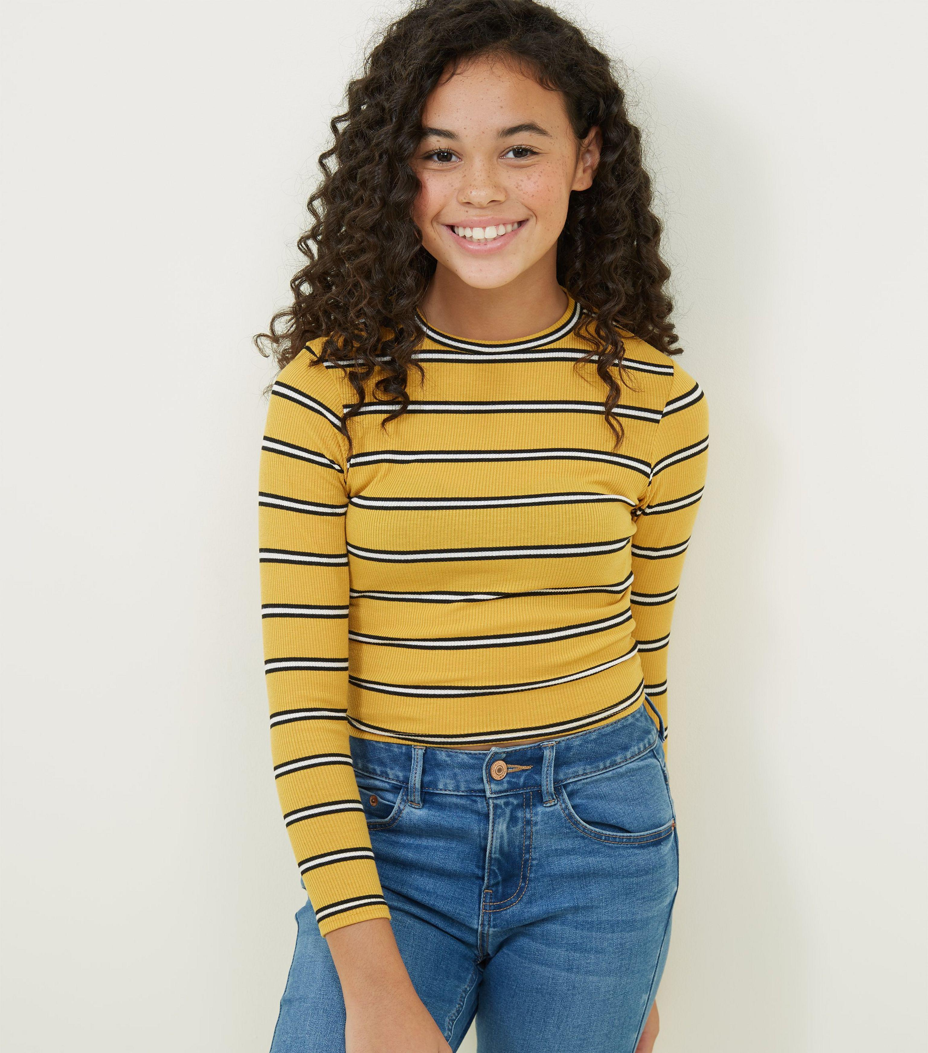 a97dccbd New Look Girls Yellow Stripe Ribbed High Neck Top in Yellow - Lyst