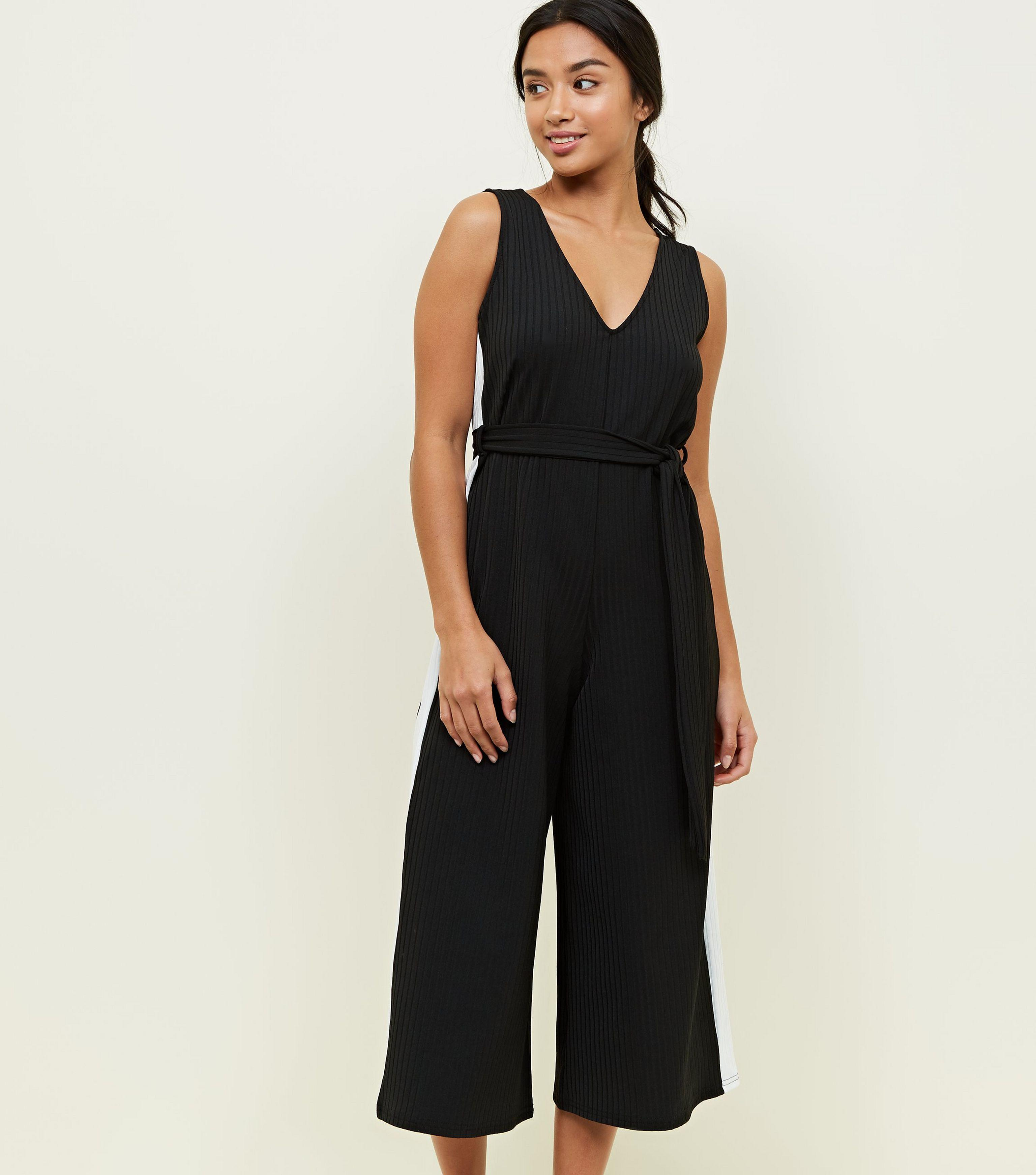 2eea6807cd3b New Look Petite Black Side Stripe Belted Culotte Jumpsuit in Black ...