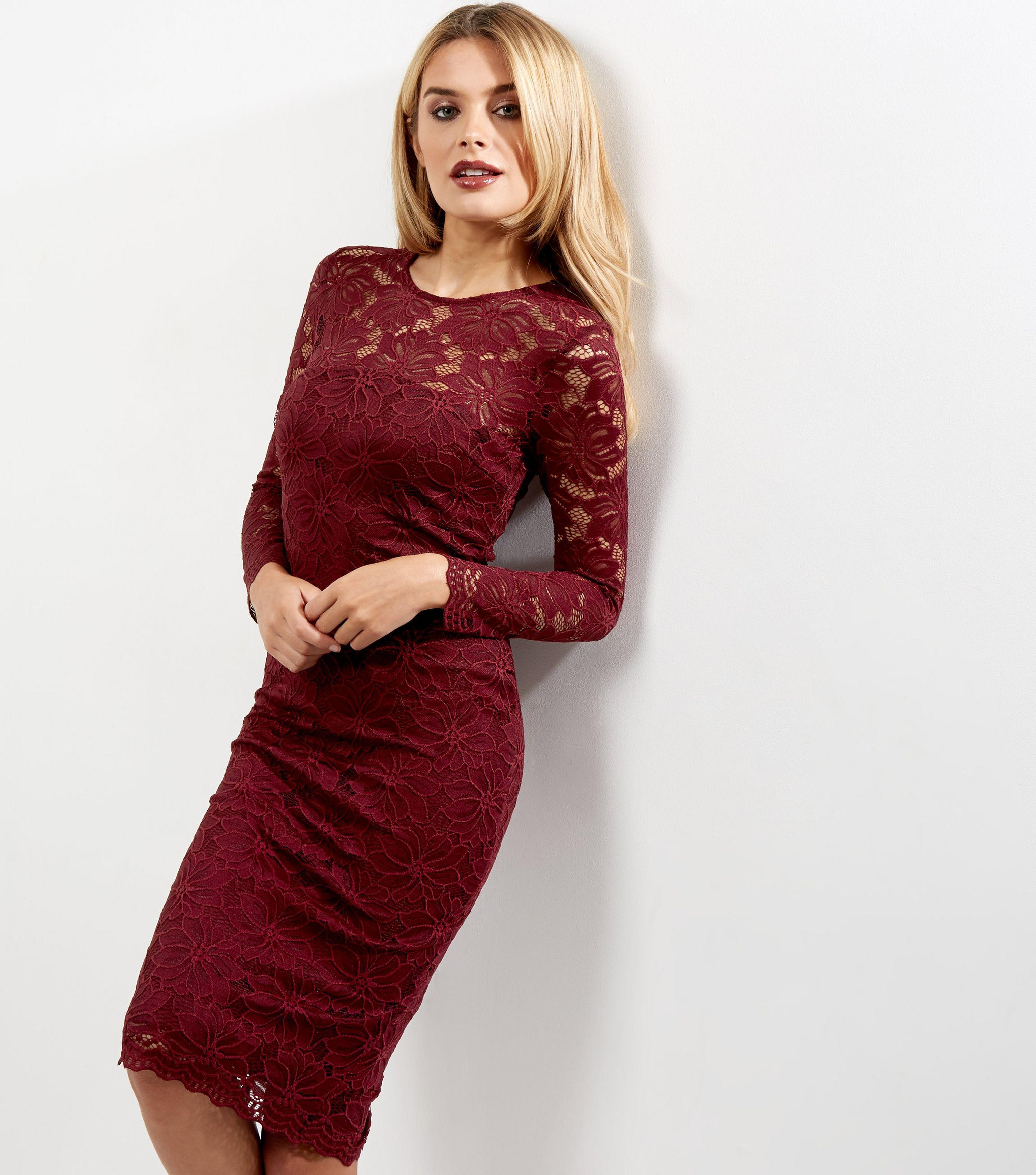90642fc3058 AX Paris Dark Red Lace Long Sleeve Midi Dress in Red - Lyst