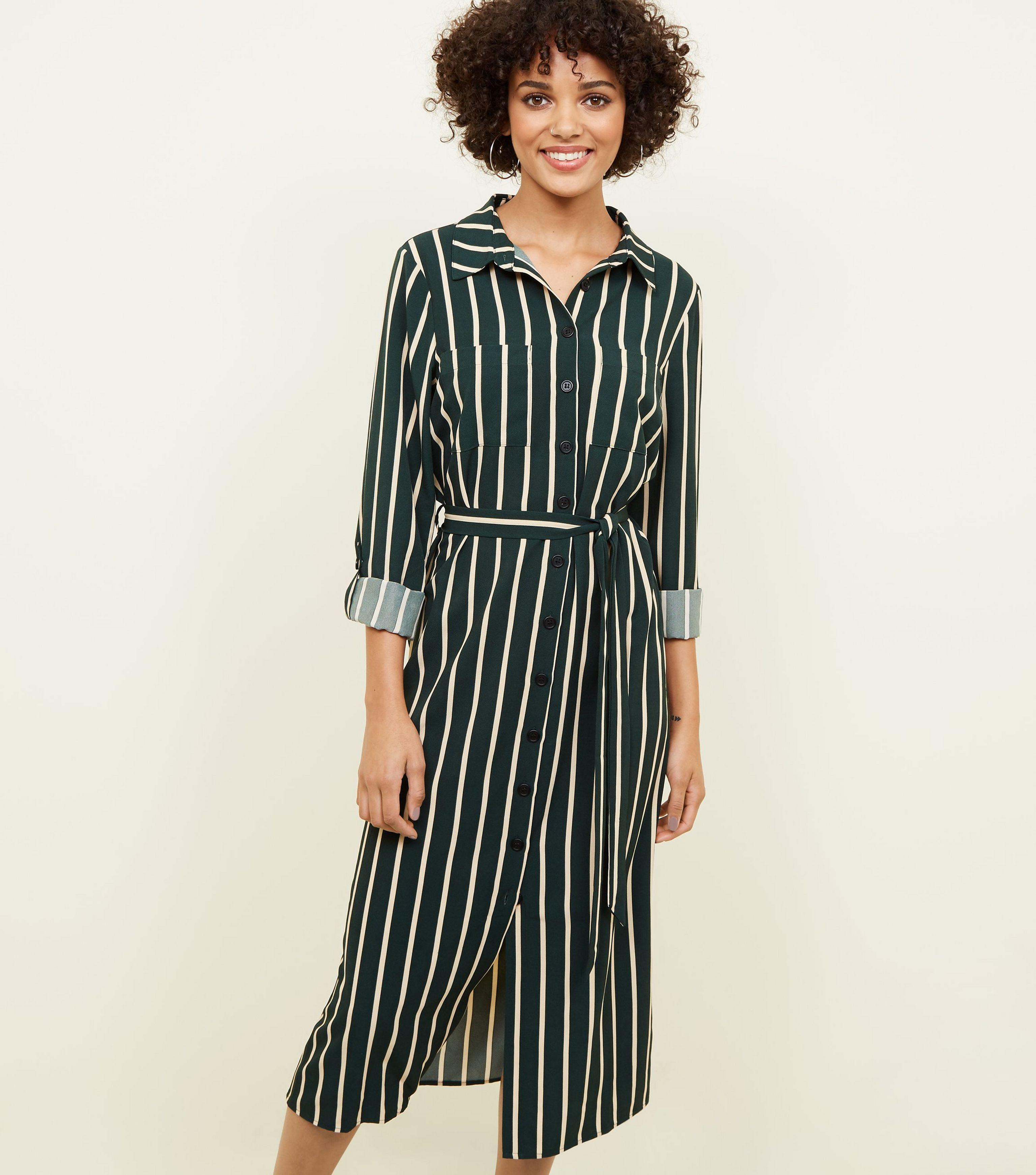 1b7dd01a1d New Look Green Stripe Twill Midi Shirt Dress in Green - Lyst