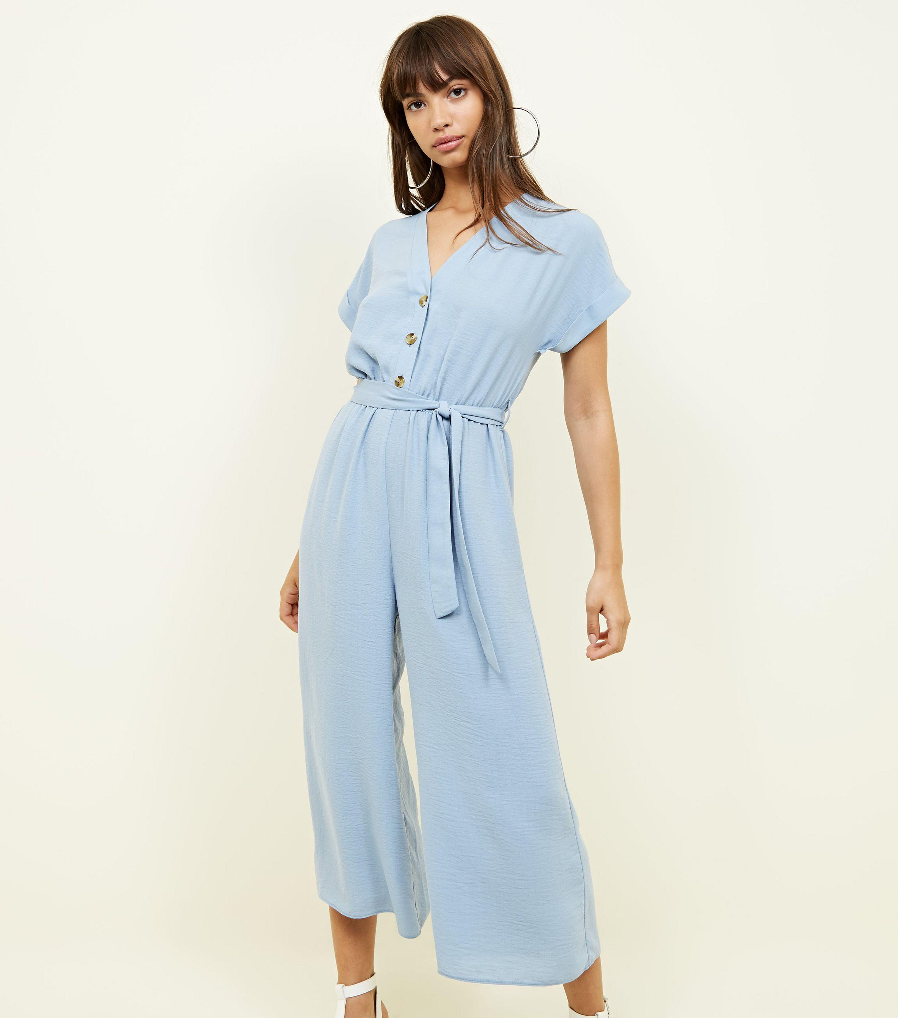 6262e8259f New Look Blue Linen-look Button Up Culotte Jumpsuit in Blue - Lyst