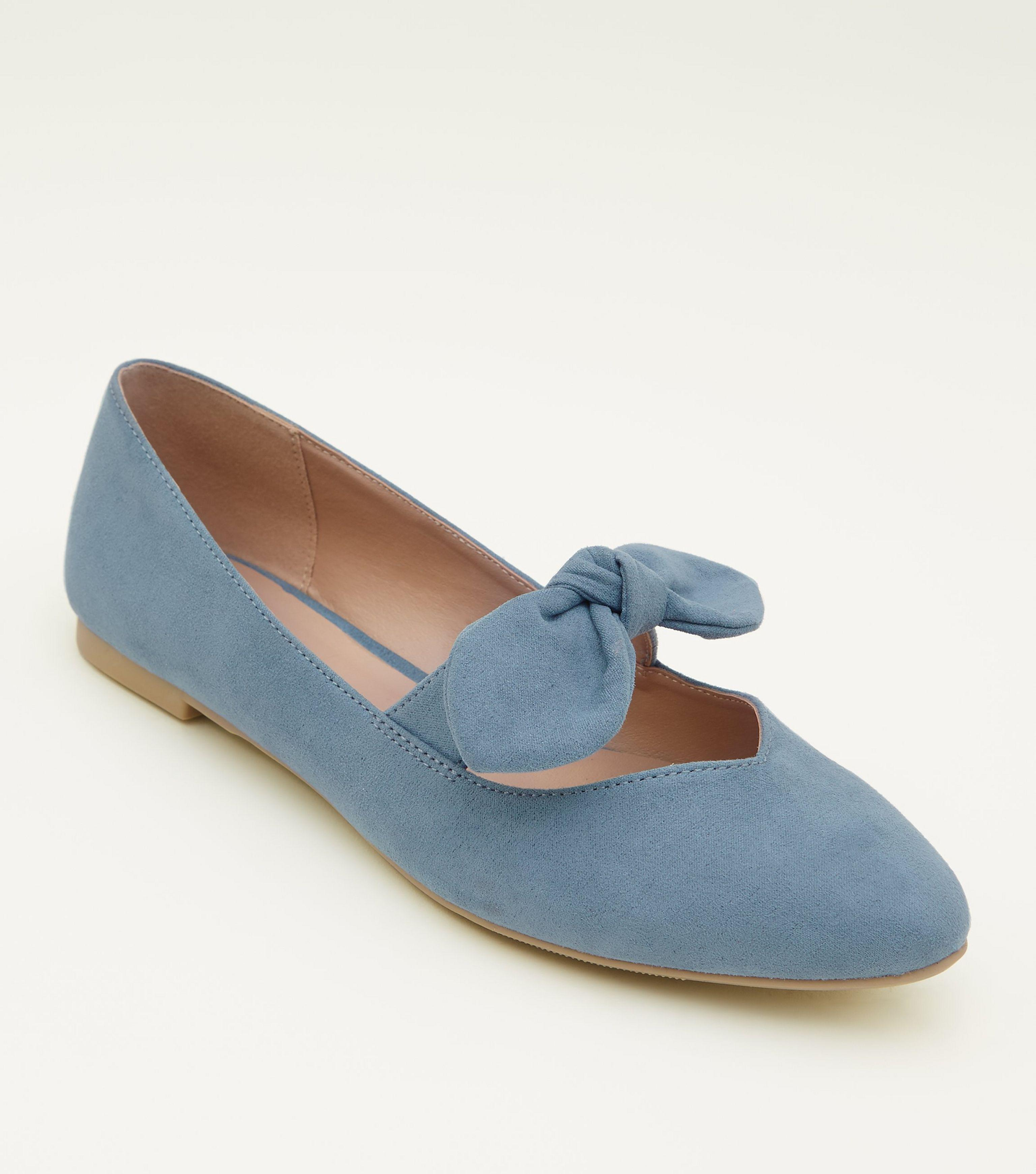 f3e74d6a47e New Look Girls Blue Suedette Bow Front Ballet Pumps in Blue - Lyst