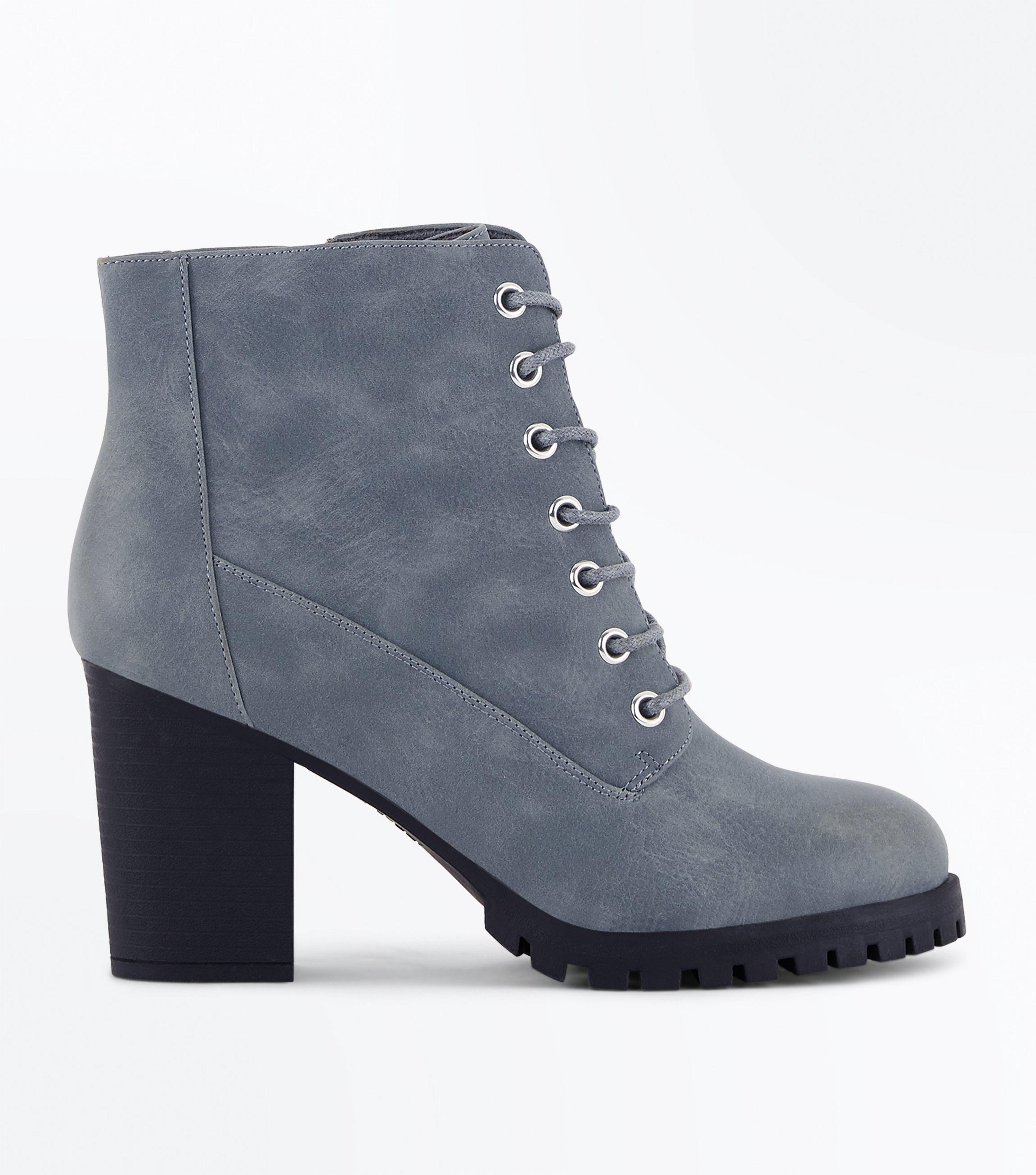 fb3416085652 New Look Wide Fit Grey Lace Up Heeled Biker Boots in Gray - Lyst