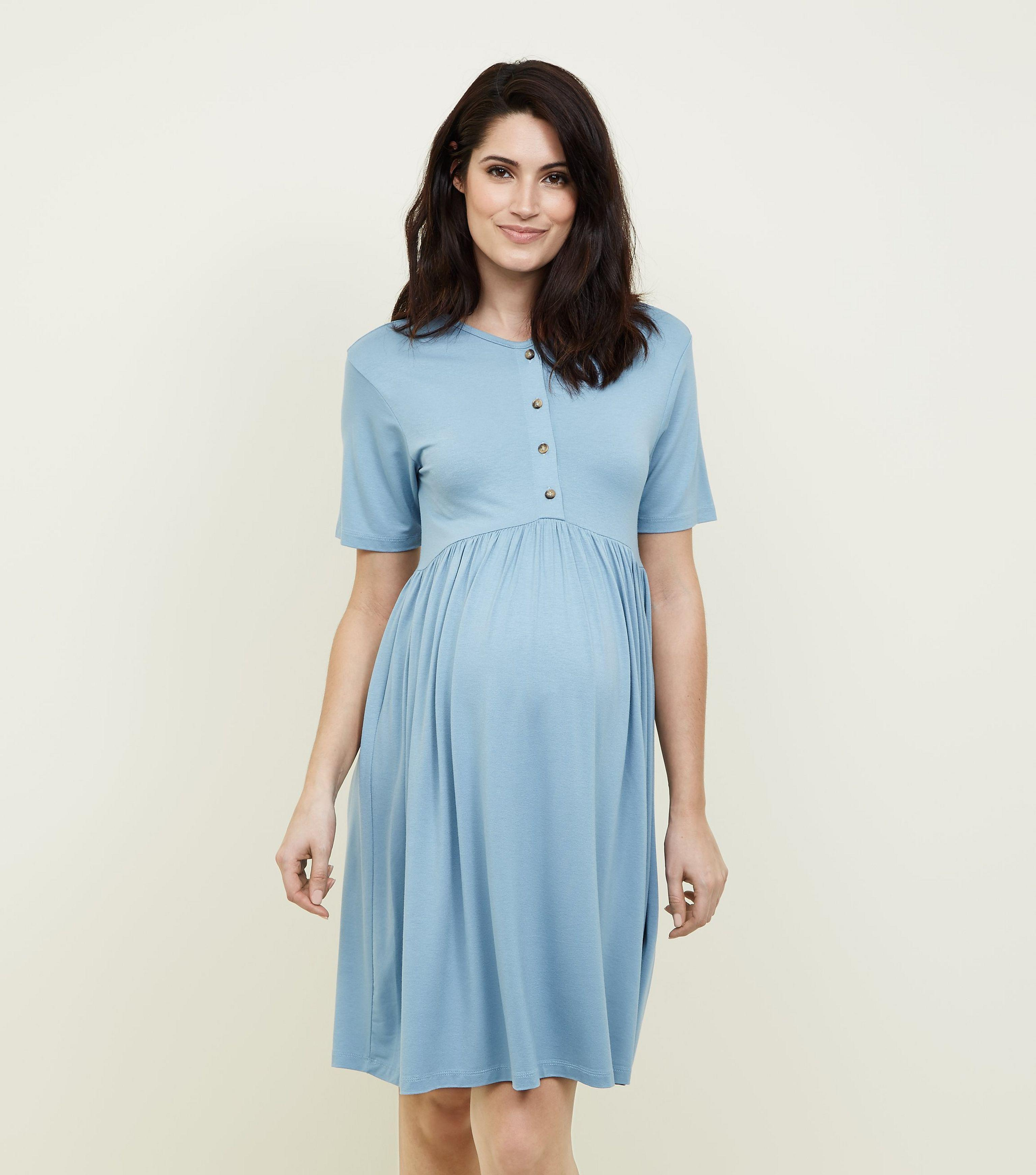 New Look Maternity Blue Button Front Nursing Smock Dress in Blue - Lyst