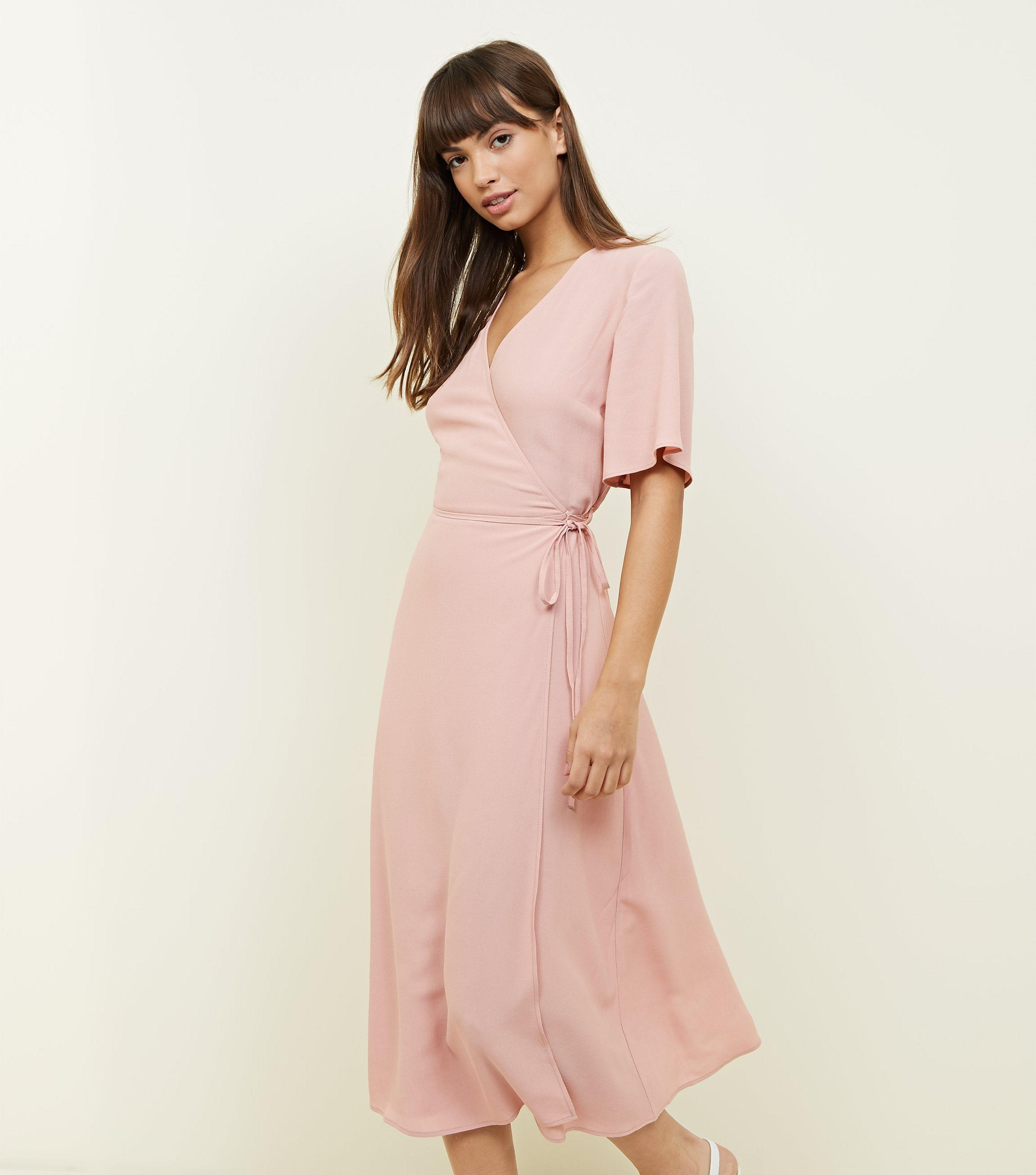 9cd45e8cab New Look Pale Pink Wrap Front Midi Dress in Pink - Lyst