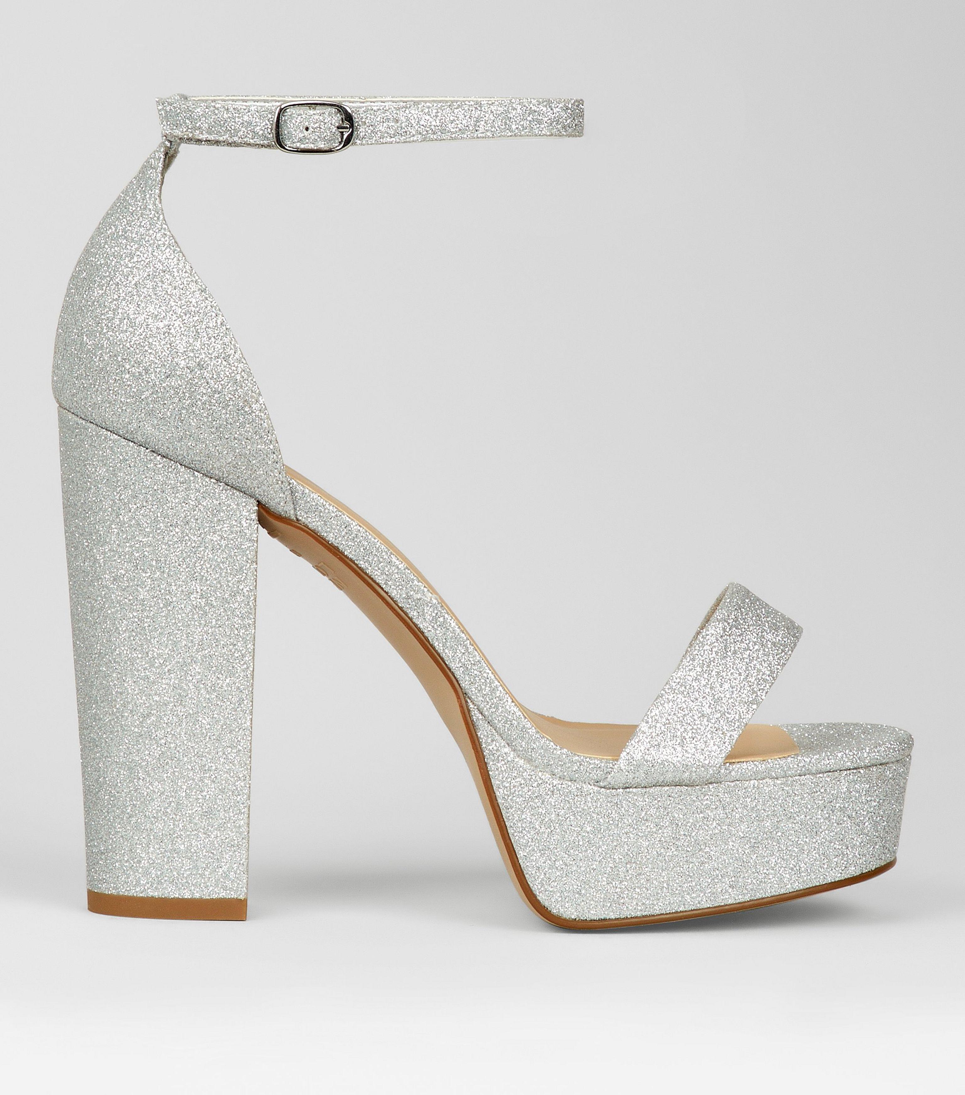 cb9df5822 New Look Wide Fit Silver Glitter Platform Heels in Metallic - Lyst