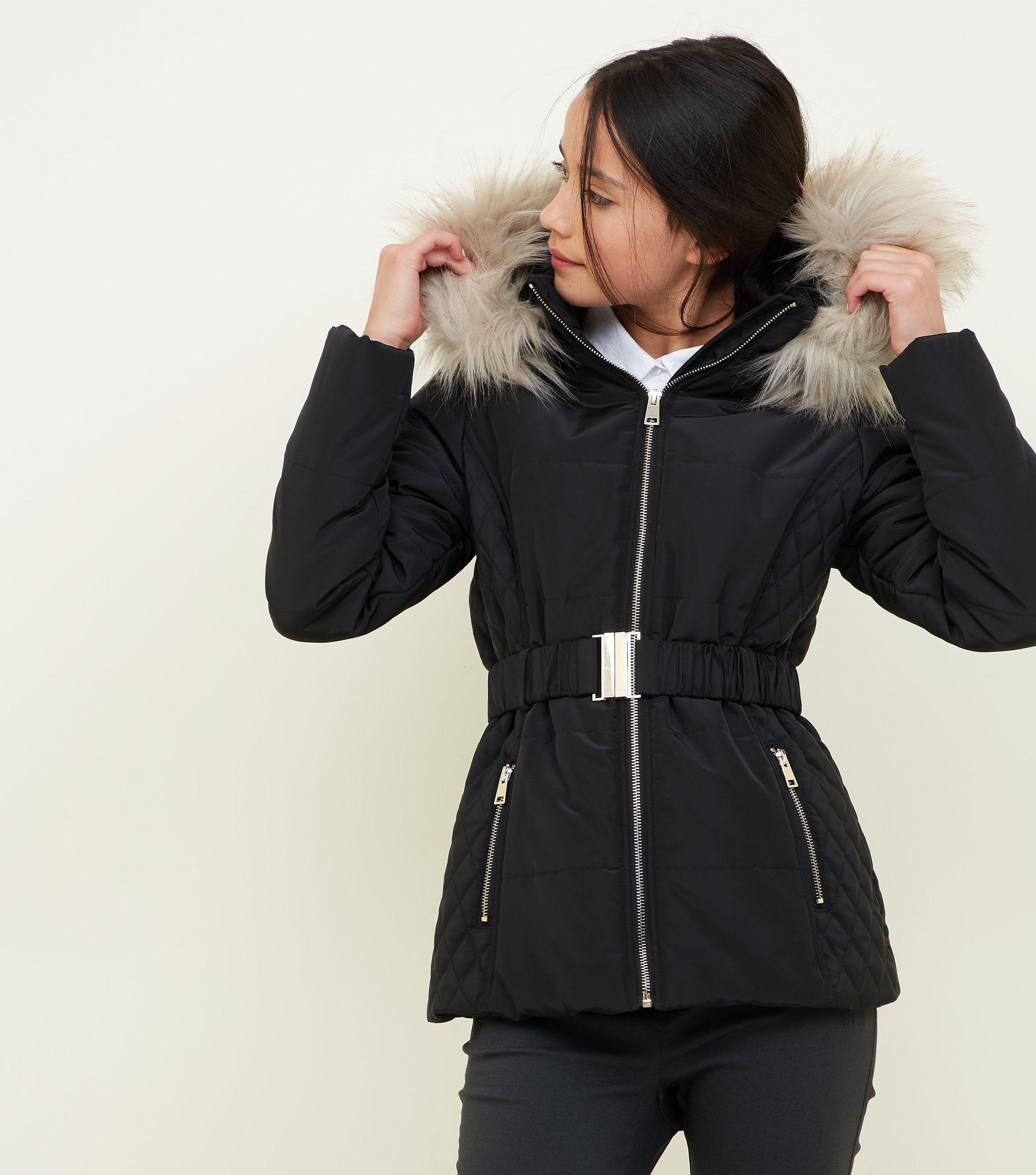 9cc17c624 New Look Girls Black Faux Fur Trim Hood Belted Puffer Jacket in ...