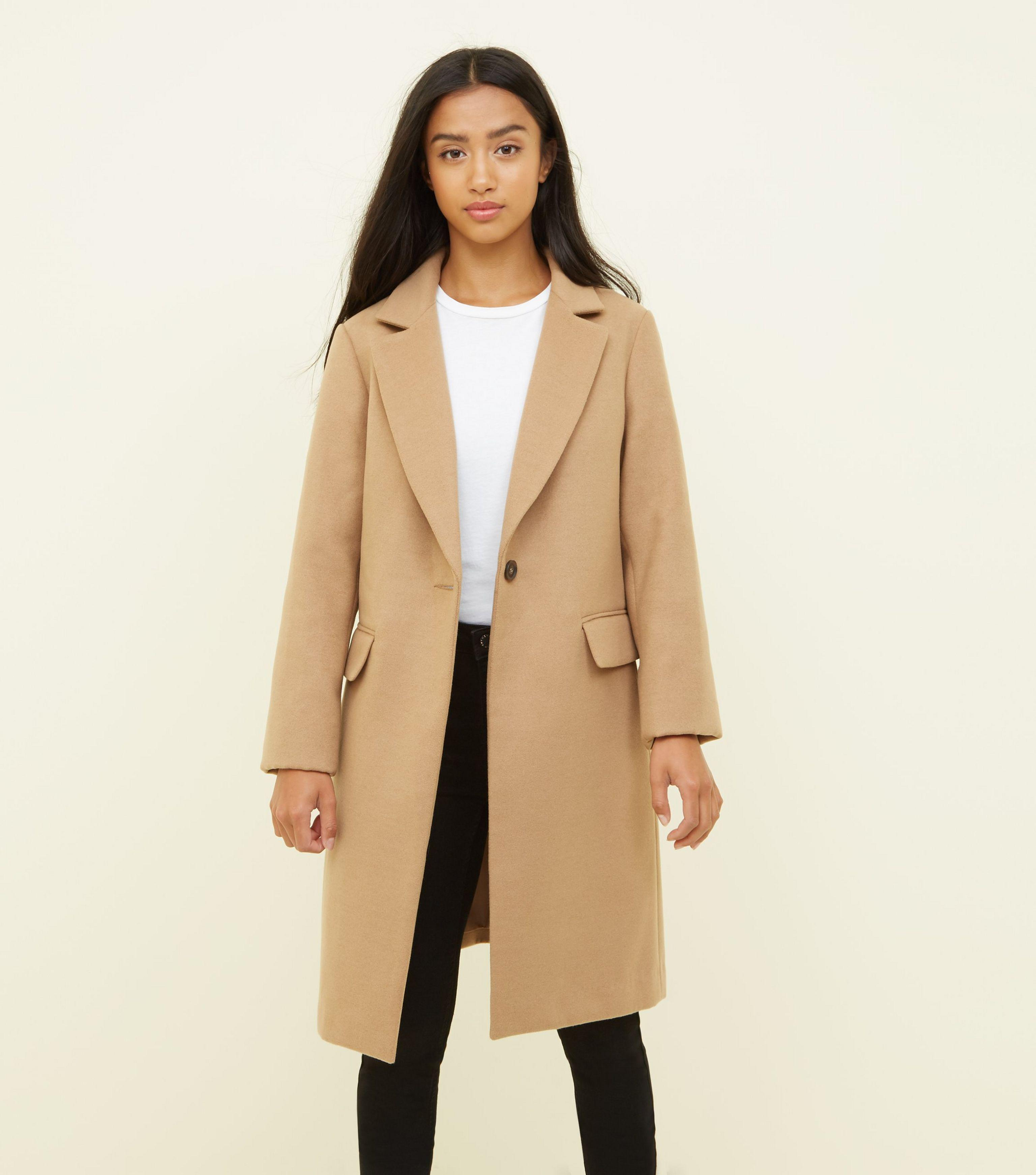 b65a6dcfe4f6 New Look Petite Camel Revere Collar Longline Coat in Natural - Lyst
