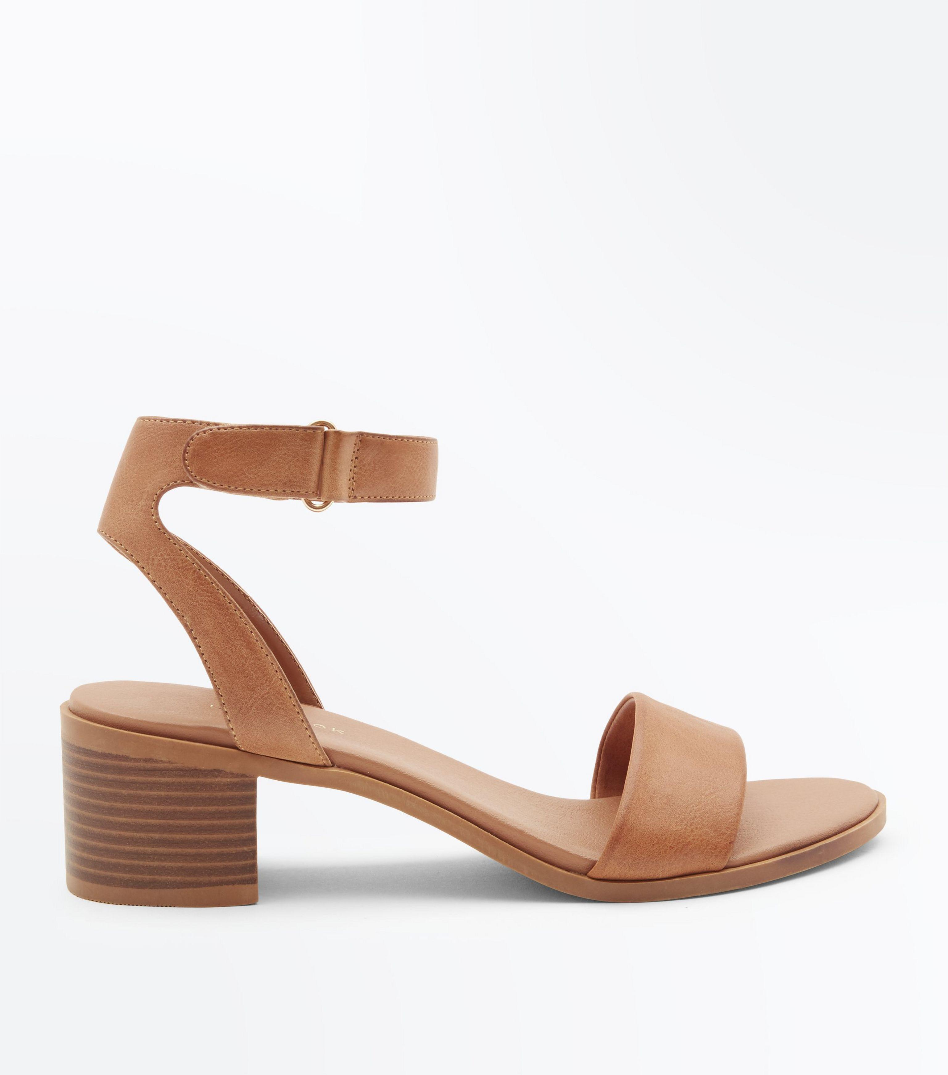 2a6bf7f2c157 New Look Tan Low Block Heel Flexible Sole Sandals In Brown Lyst
