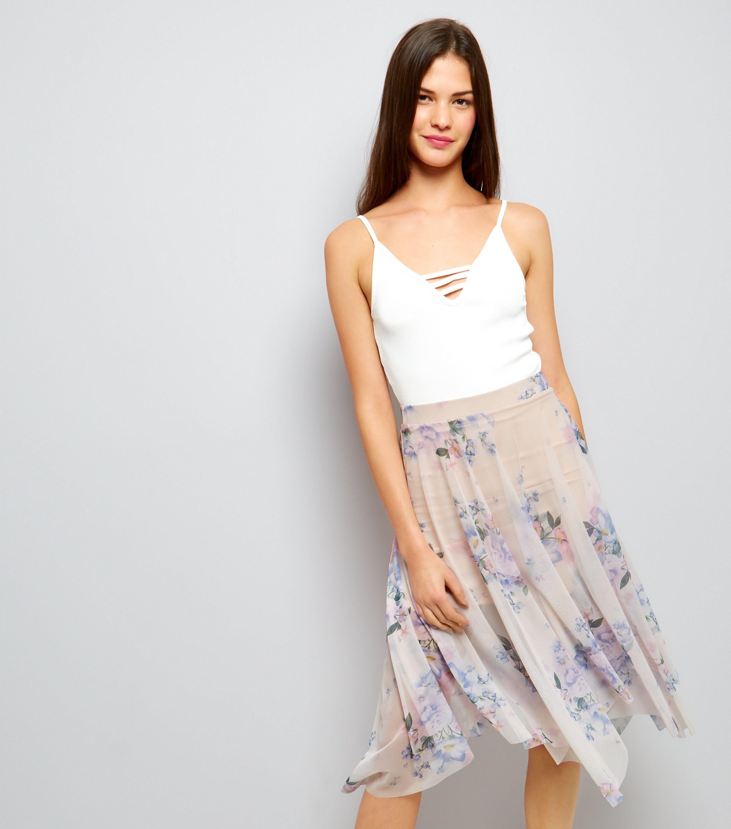 2e8da45c7 New Look Pink Floral Print Hanky Hem Mesh Skirt in Pink - Lyst