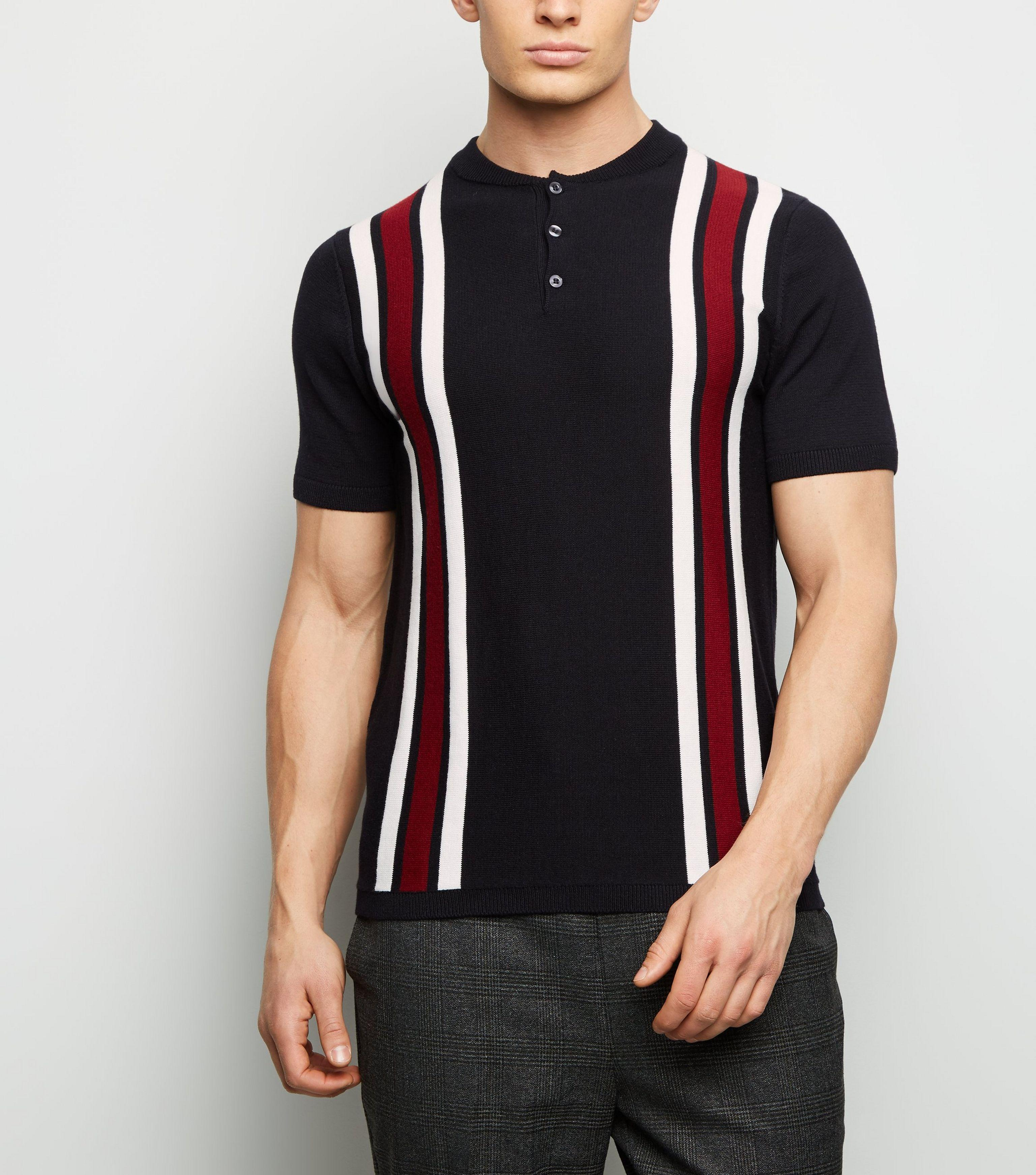 afb95e783 New Look Red Bowling Stripe Button Neck Polo Shirt in Red for Men - Lyst