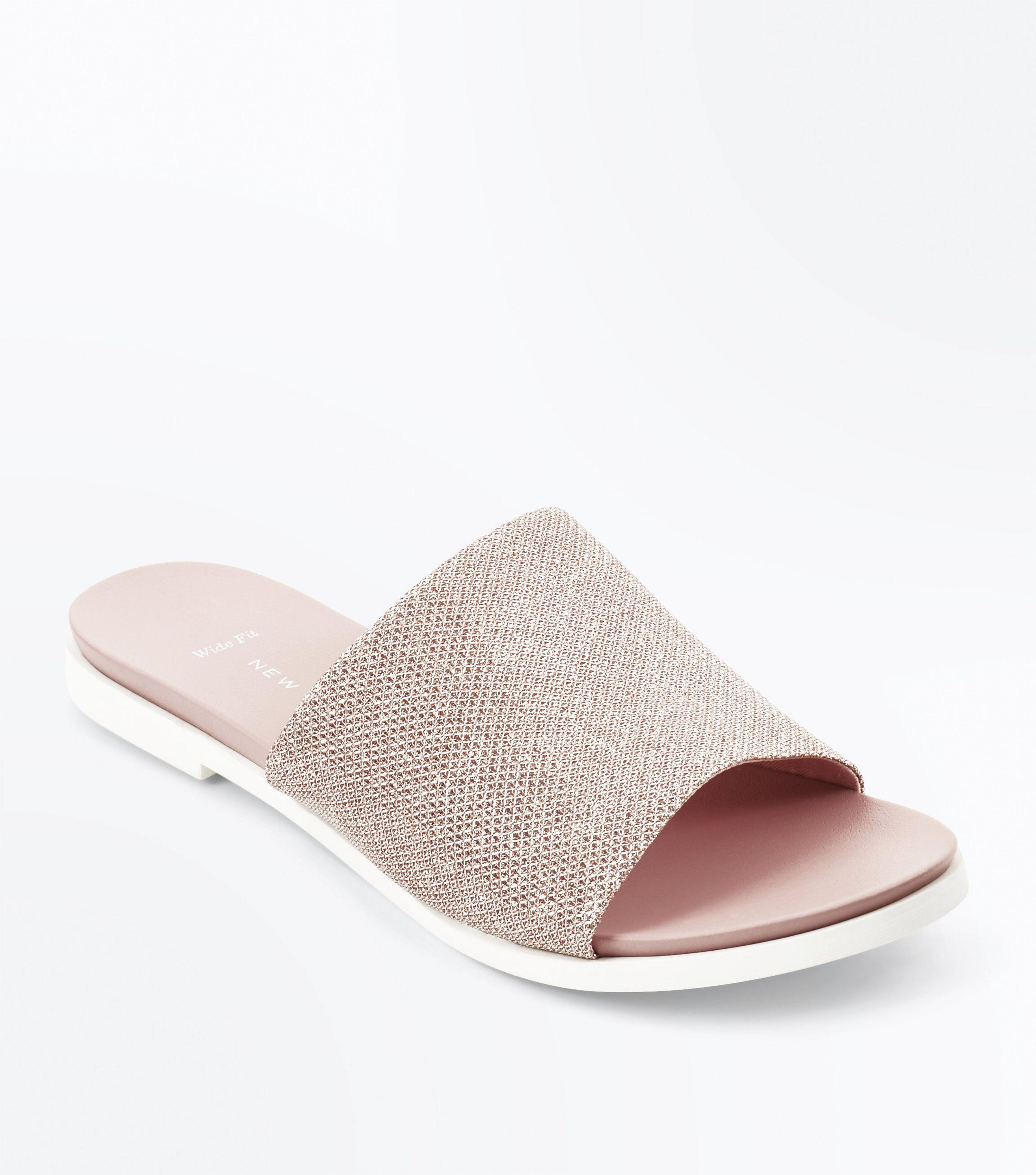 2a2bd877632f New Look Wide Fit Rose Gold Glitter Mules in Pink - Lyst