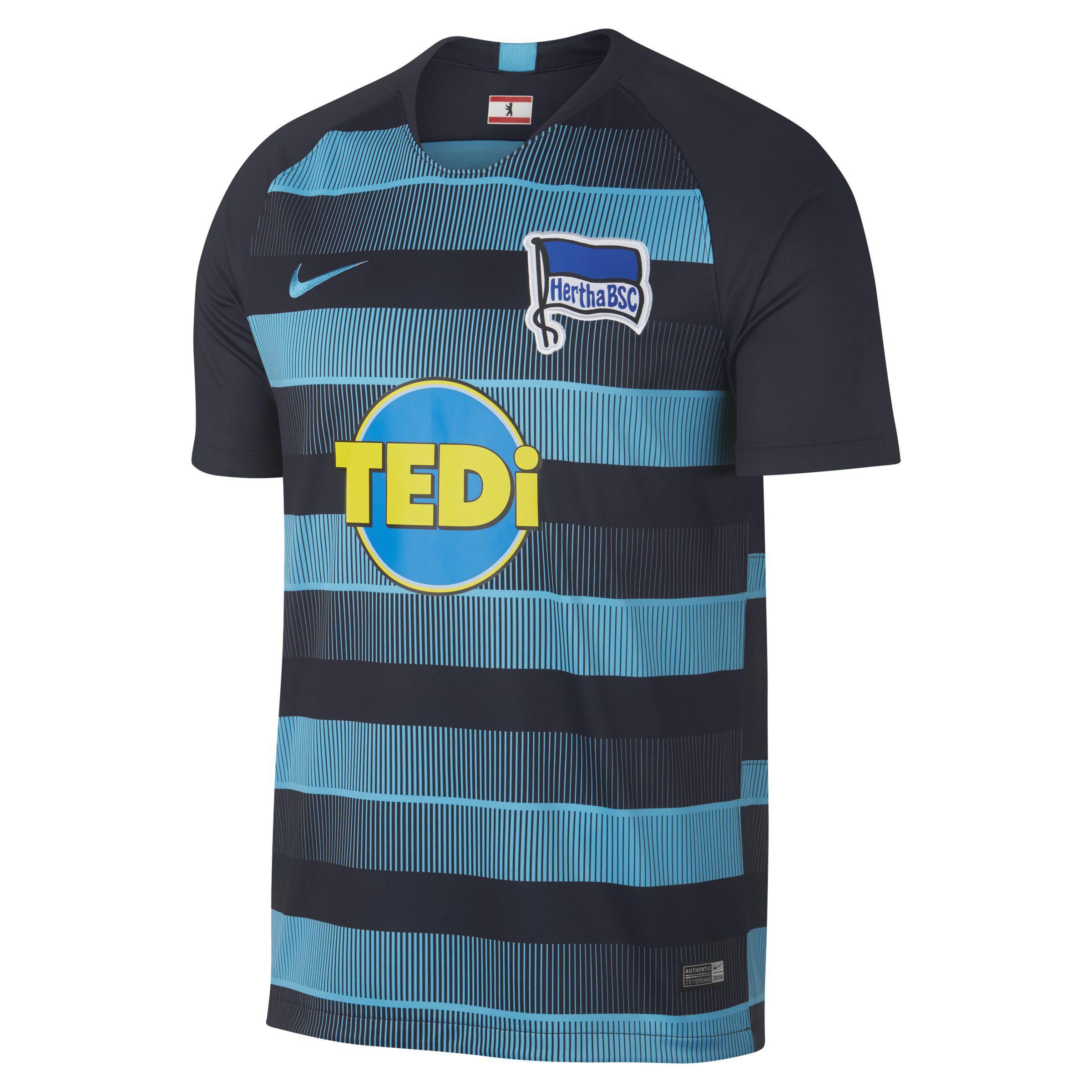 Nike 2018 19 Hertha Bsc Stadium Away Football Shirt in Blue for Men ... 86dbfefd8