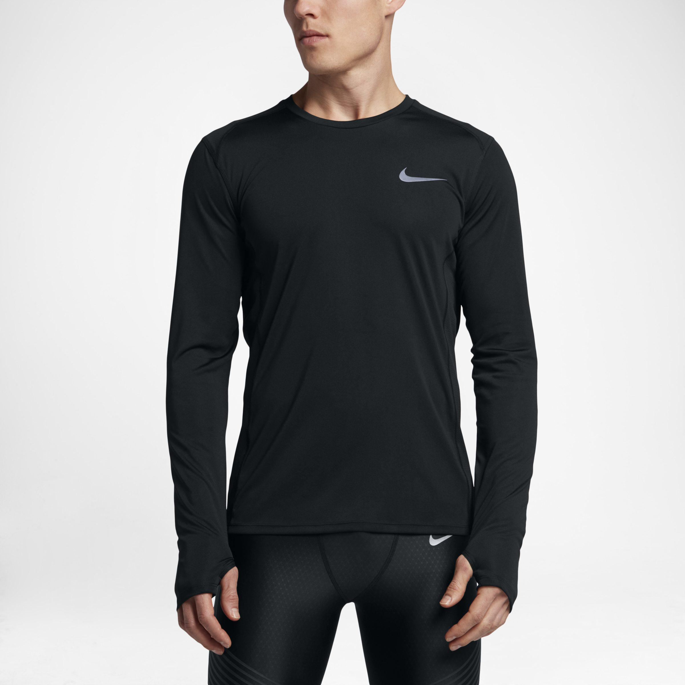 318888c32c Nike Miler Long-sleeve Running Top in Black for Men - Lyst