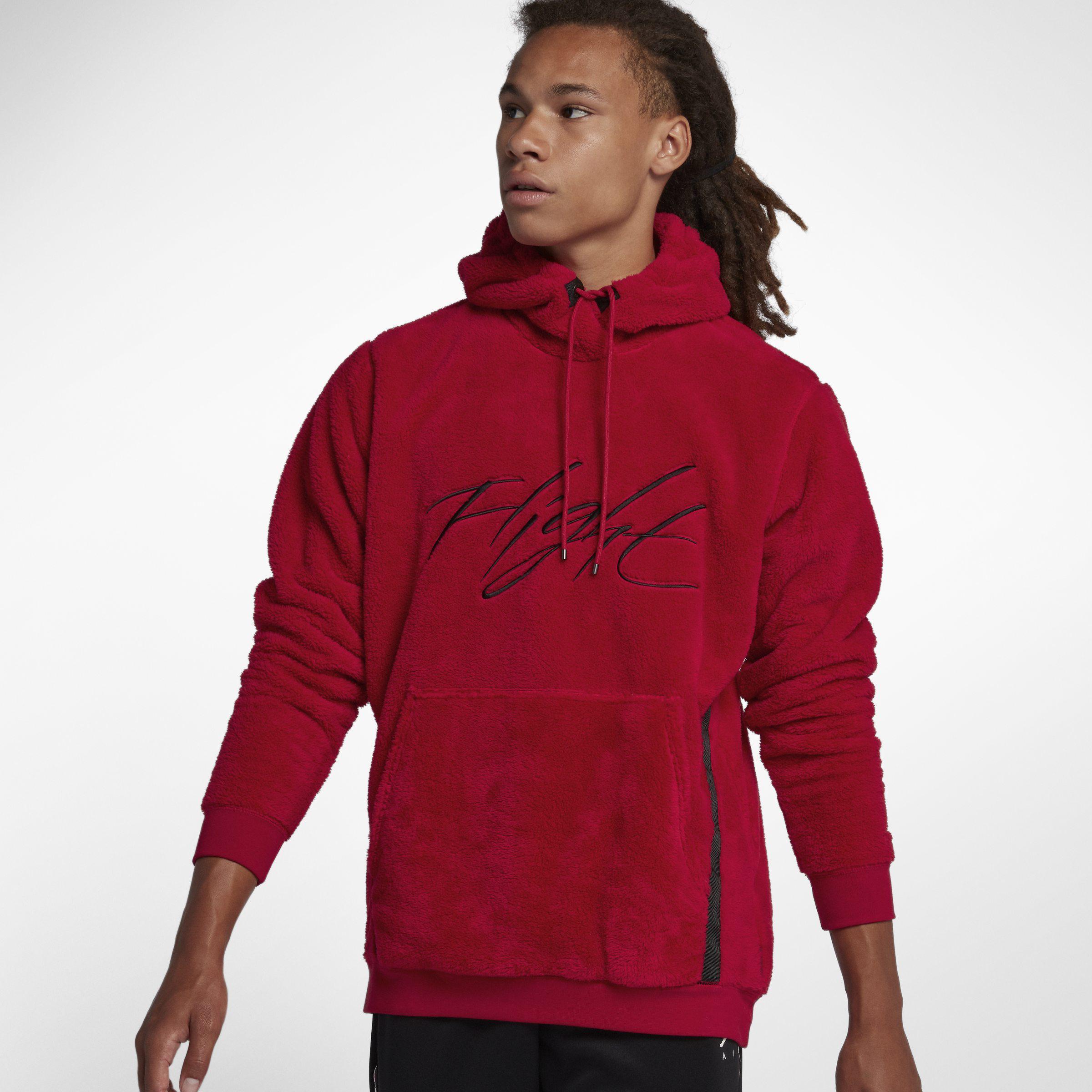 22712d3cc8c Nike Jordan Sportswear Wings Of Flight Sherpa Pullover Hoodie in Red ...