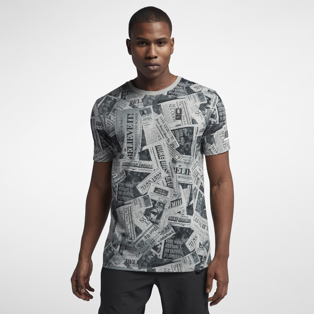 a91330548050 Lyst - Nike Dri-fit Kyrie Newspaper Men s Basketball T-shirt in Gray ...