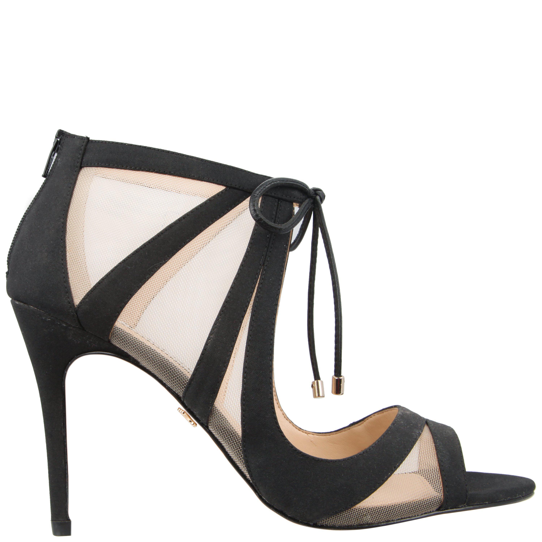 Cherie Matte Fabric Ankle-Tie Mesh Dress Sandals DbEOhUDZ