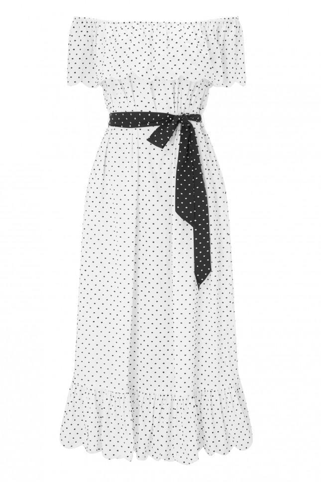 off shoulder polka dot midi dress - White Marysia Swim Purchase Your Favorite OKR3QJlMk