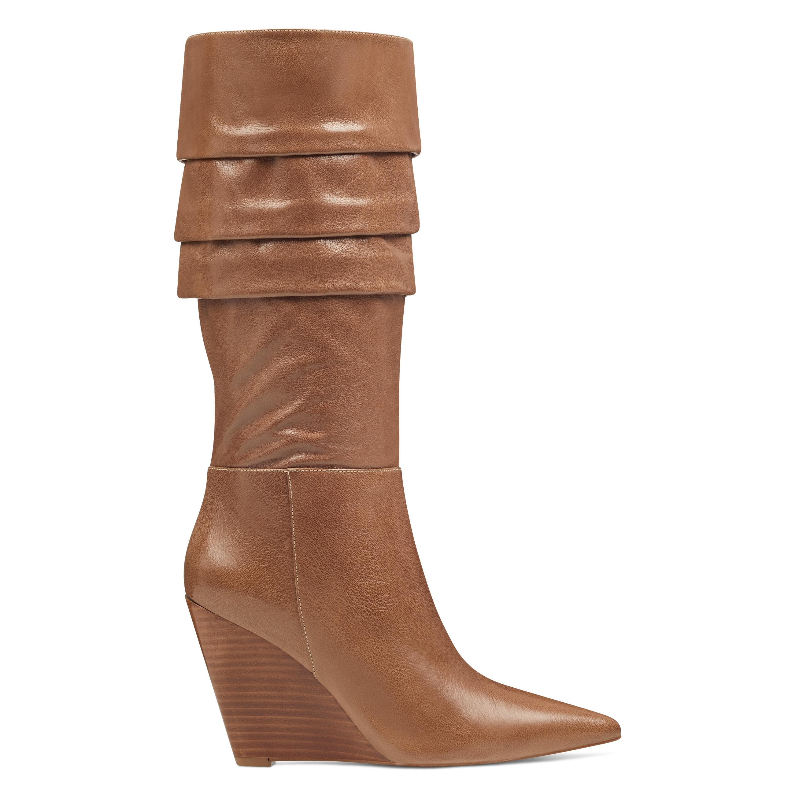 3dbe160a516 Lyst - Nine West Vernese Scrunched Wedge Boots in Brown - Save 44%