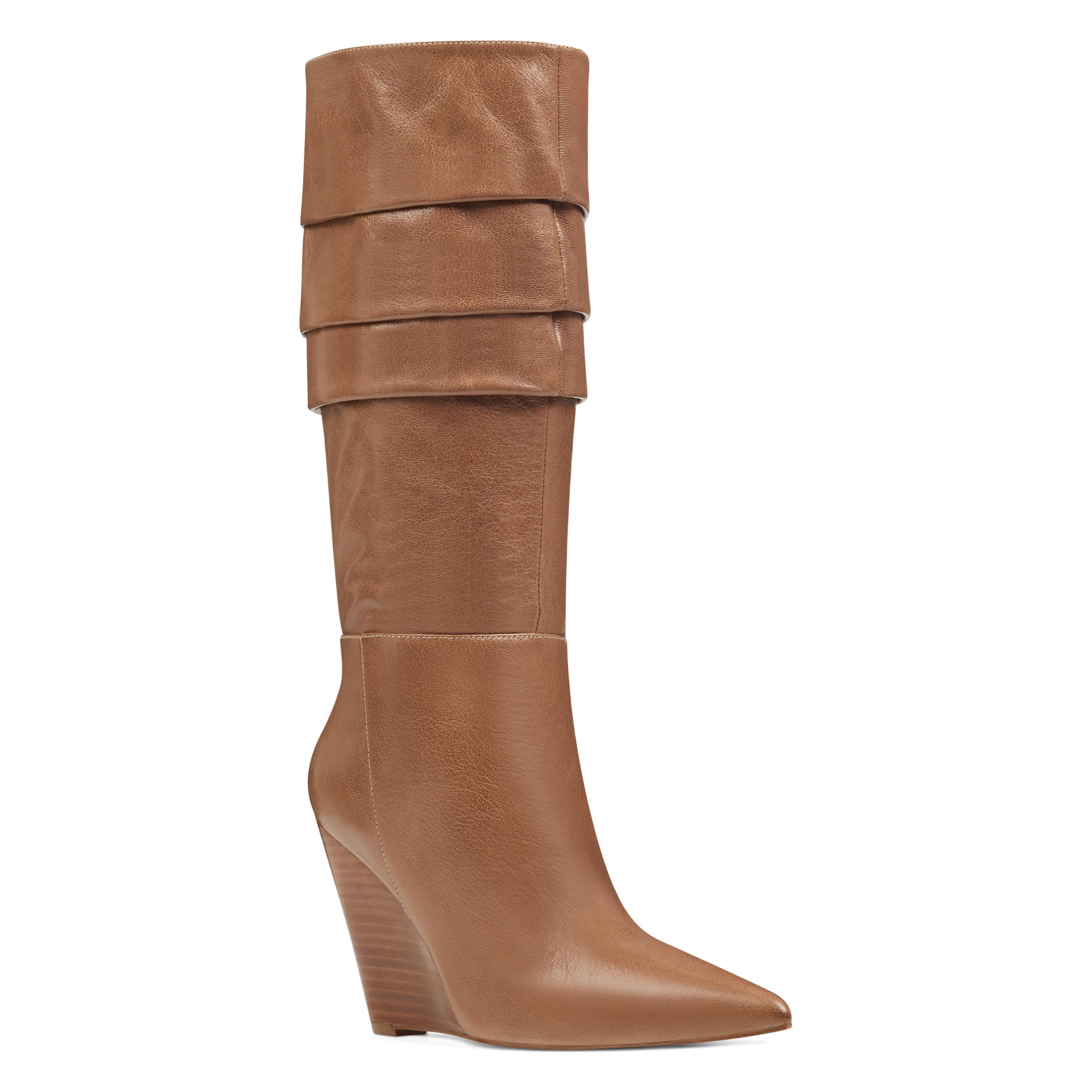 f1028326da8 Nine West - Brown Vernese Scrunched Wedge Boots - Lyst. View fullscreen
