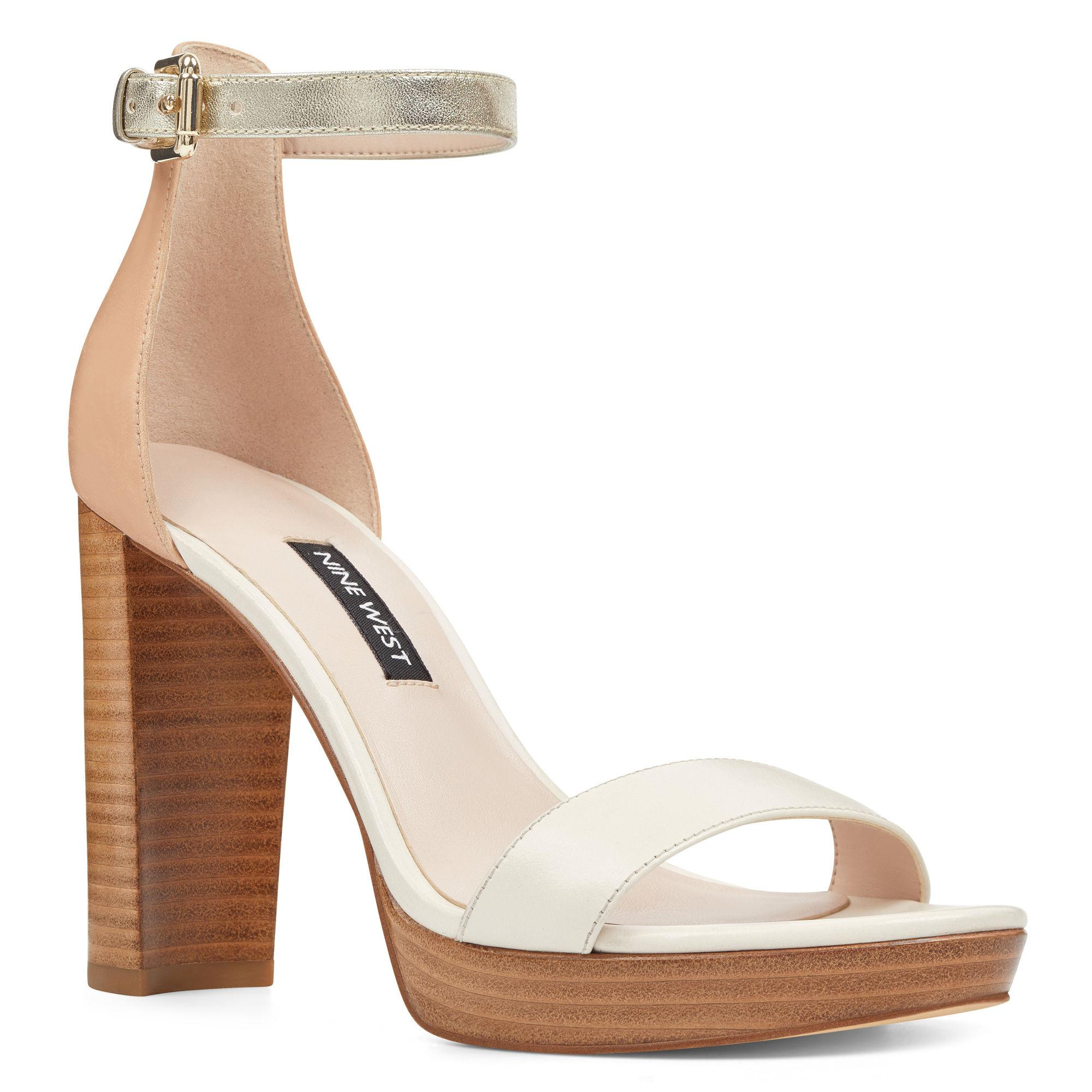 6c7e700972 Nine West Dempsey Open Toe Sandals in Natural - Lyst