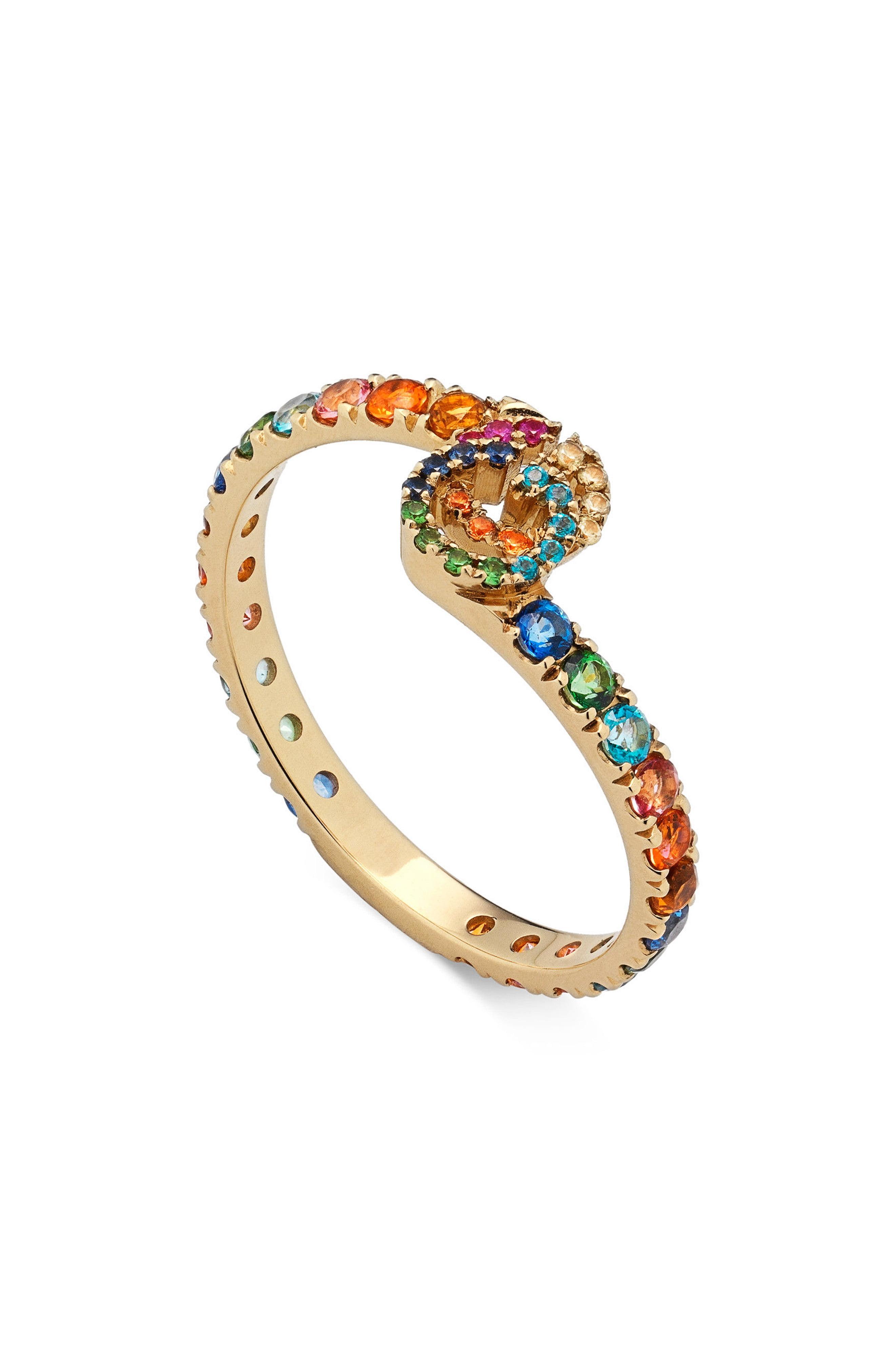 4ae6feb3442 Lyst - Gucci Double-g Running Gemstone Ring in Metallic