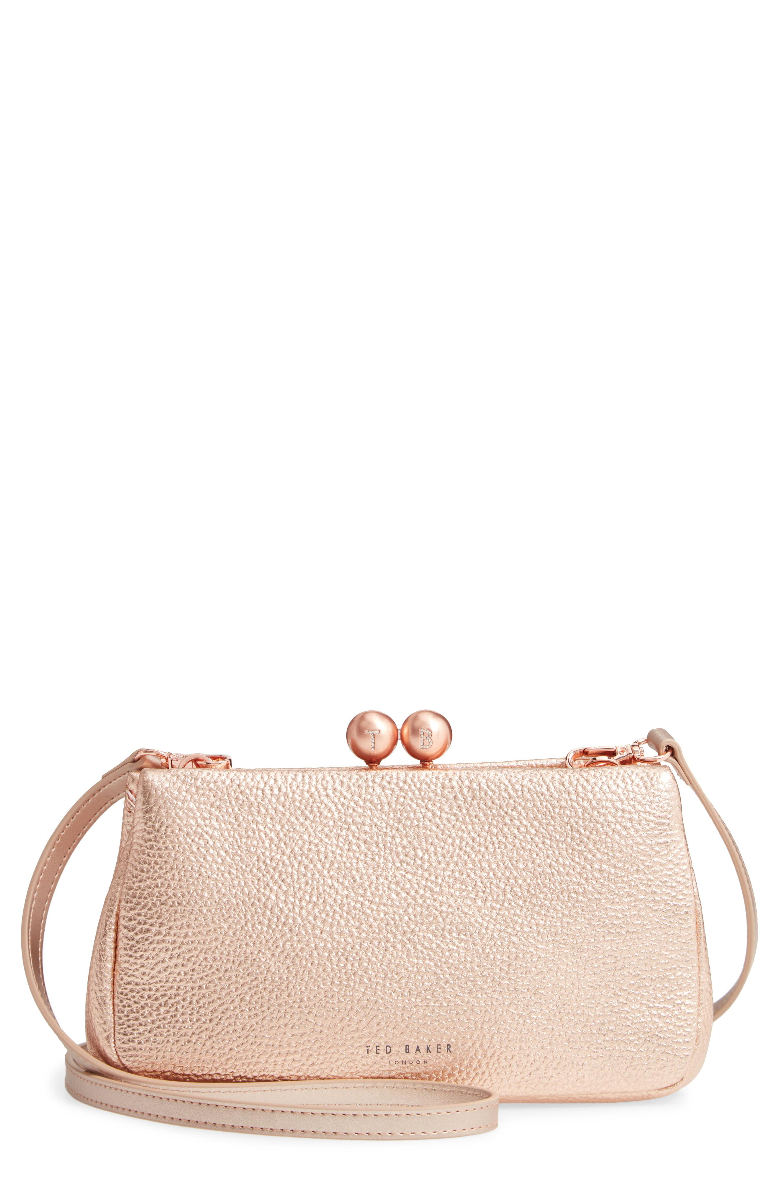 7f19a2aba Lyst - Ted Baker Chrina Leather Crossbody Bag - Metallic in Pink
