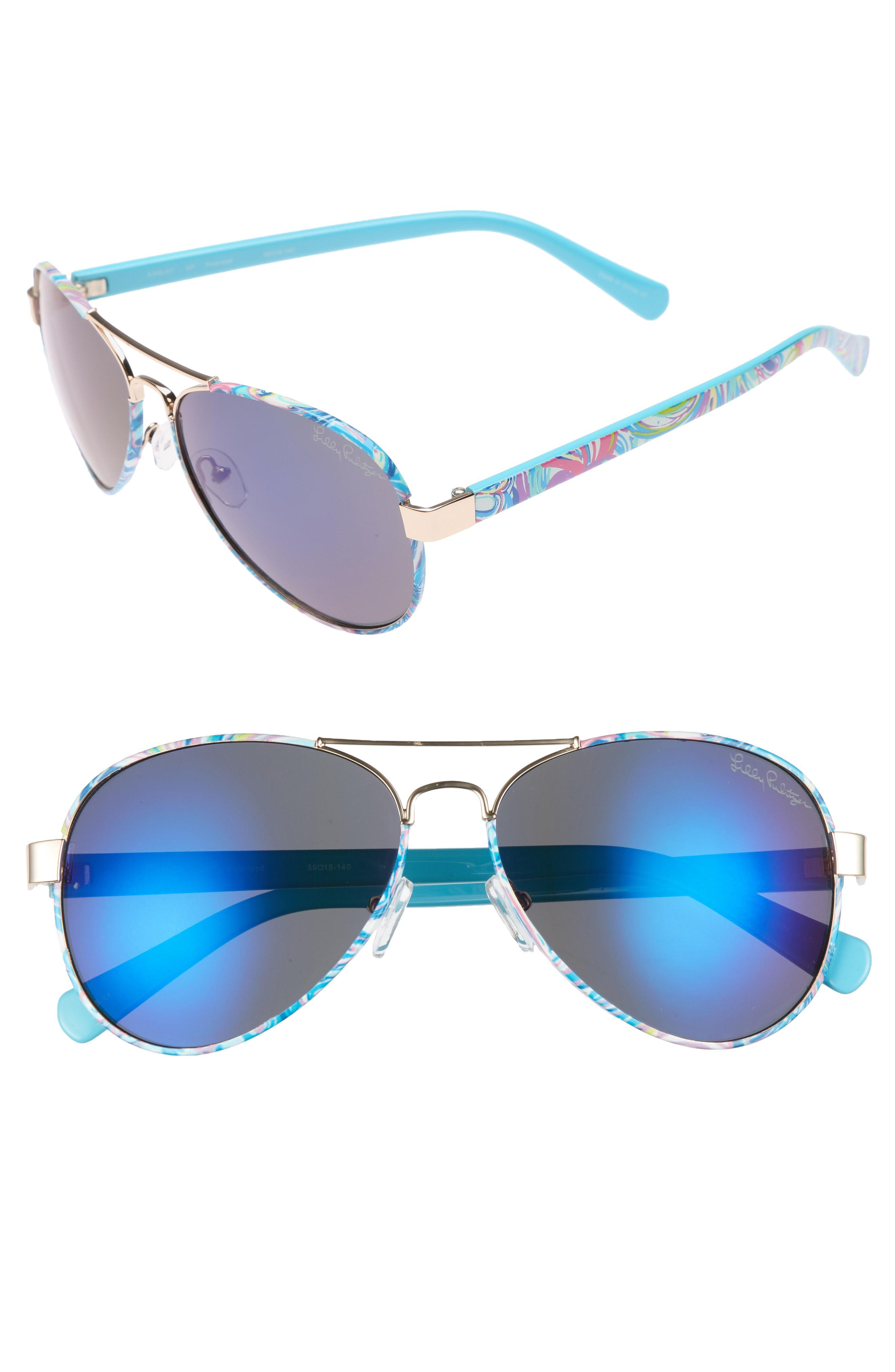 1ab3fcdc891 Lilly Pulitzer. Women s Blue Lilly Pulitzer Ainsley 59mm Polarized Aviator  Sunglasses
