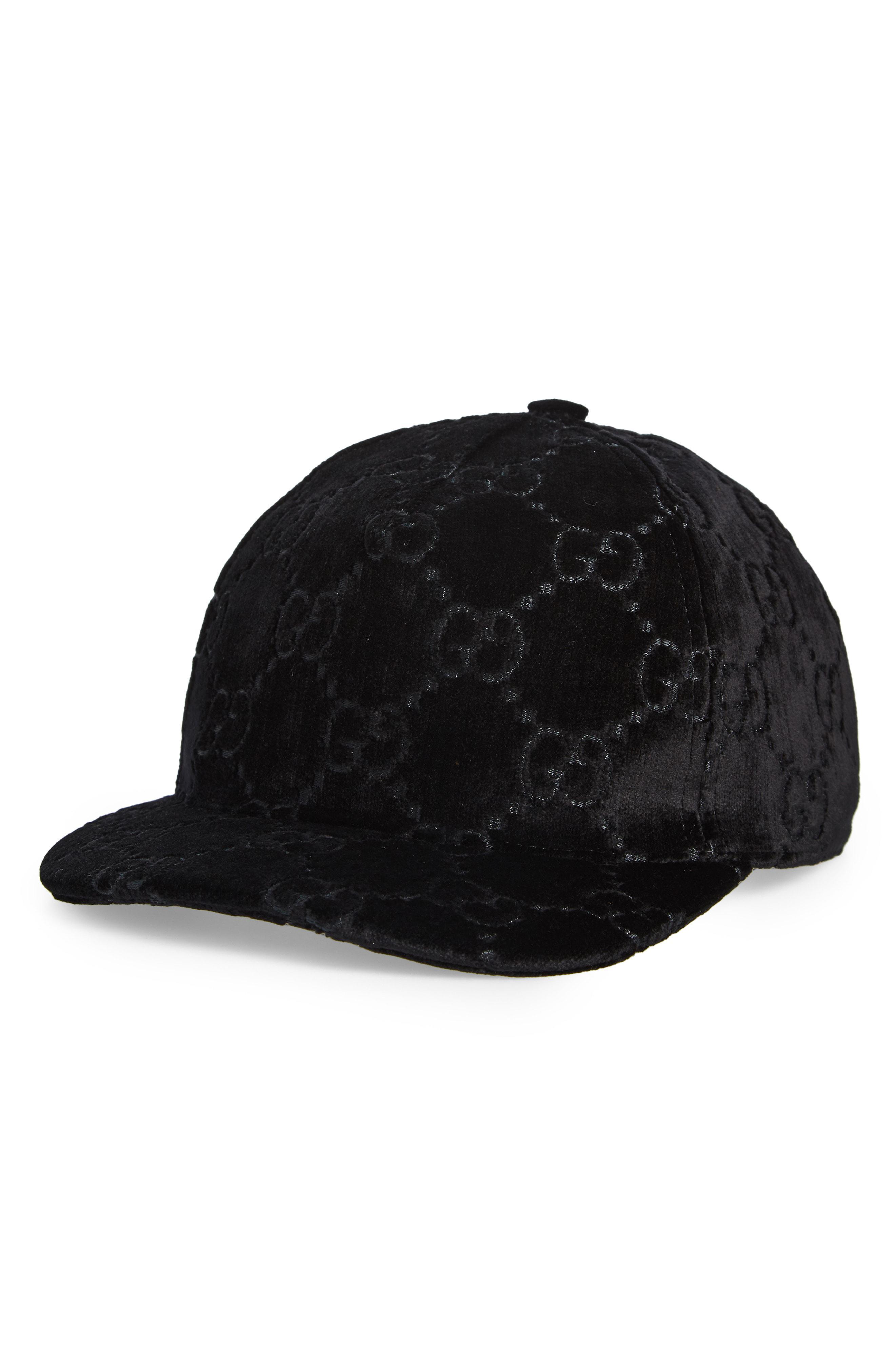 e41fa78cffb Gucci - Black Logo Embroidered Velvet Baseball Cap - Lyst. View fullscreen