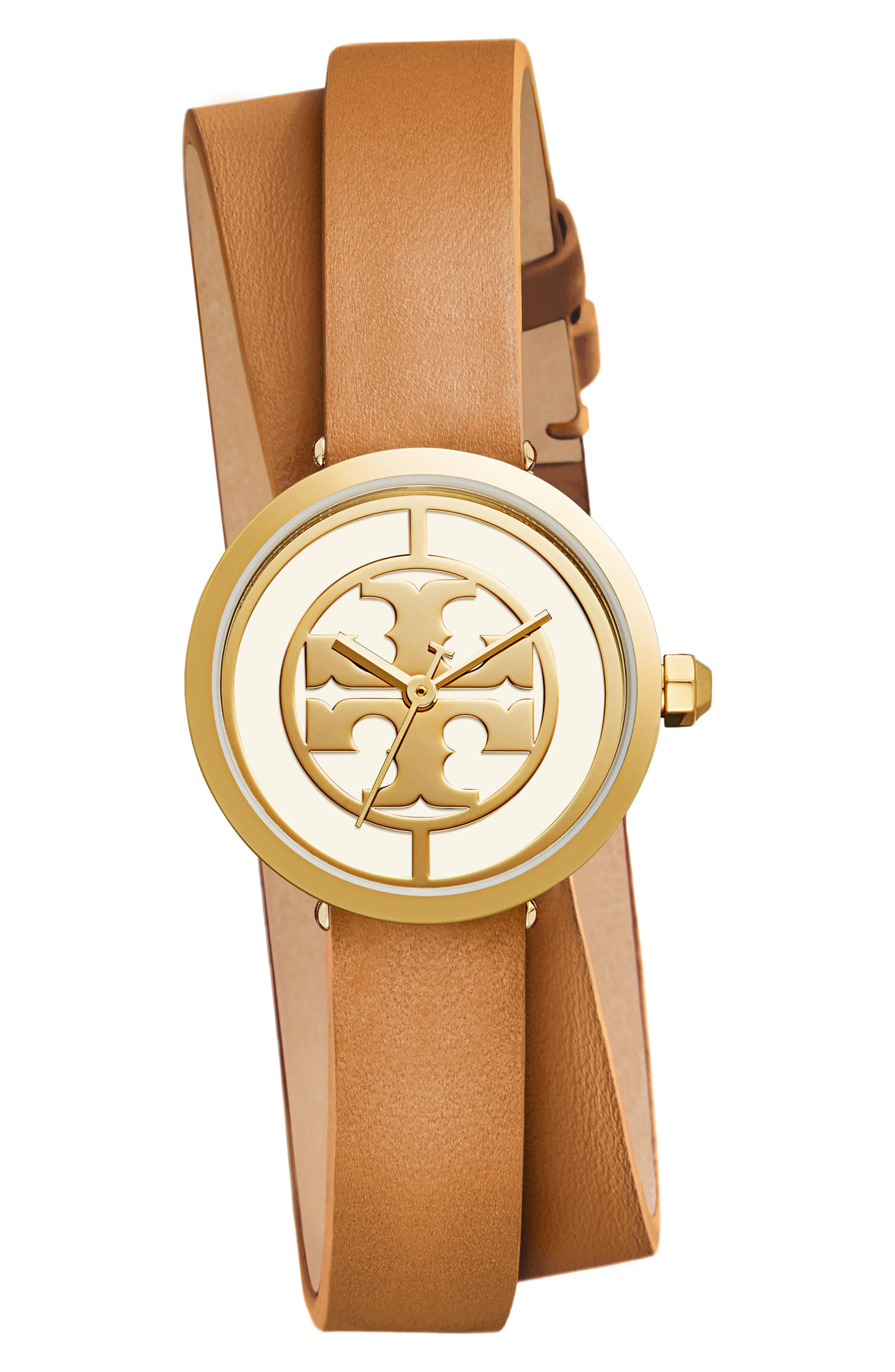 9e9daba1463 Lyst - Tory Burch Reva Logo Dial Double Wrap Leather Strap Watch in ...
