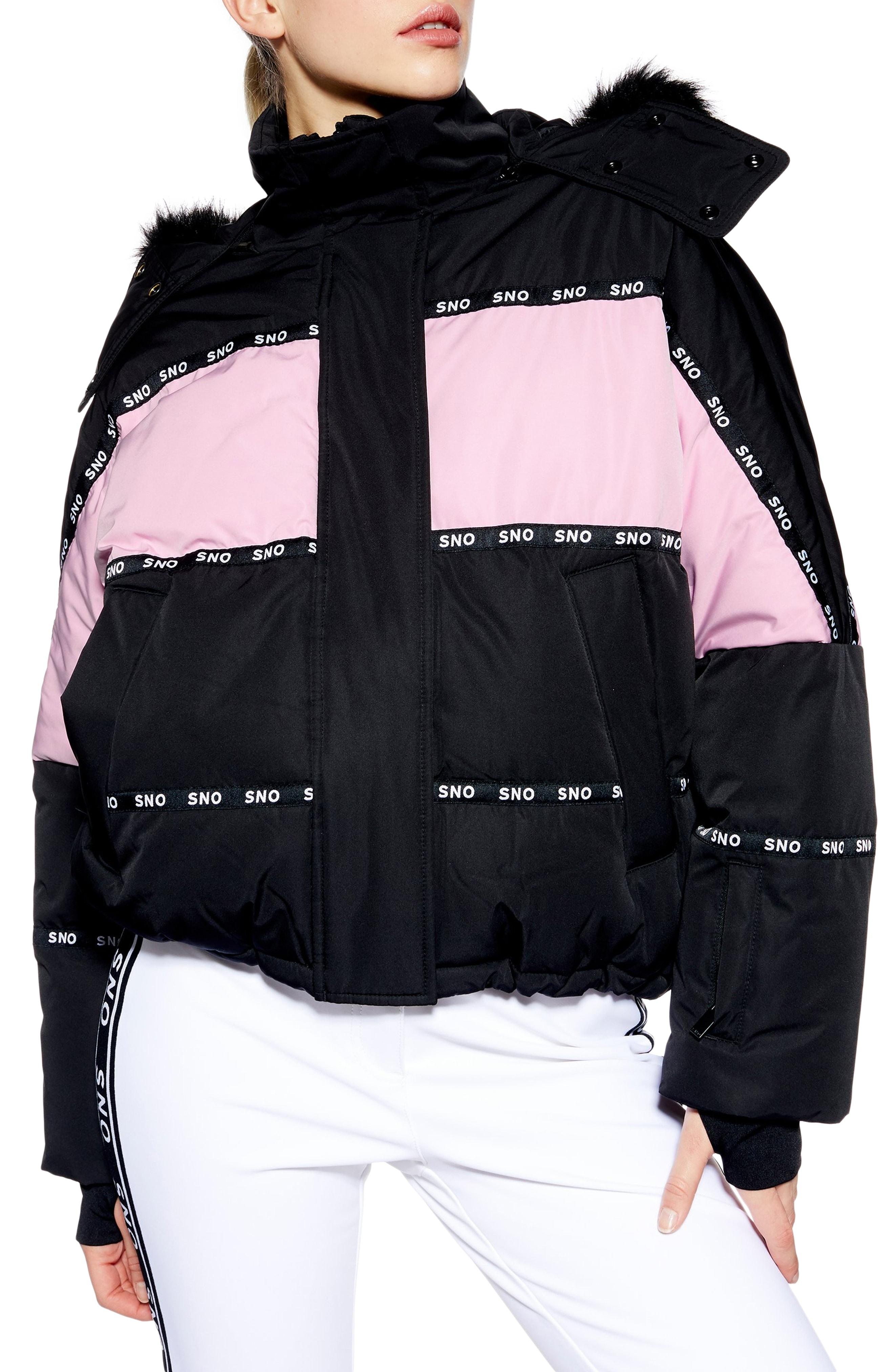 d06095f3c915 Lyst - TOPSHOP Sno Oversized Colorblock Jacket in Black - Save 5%