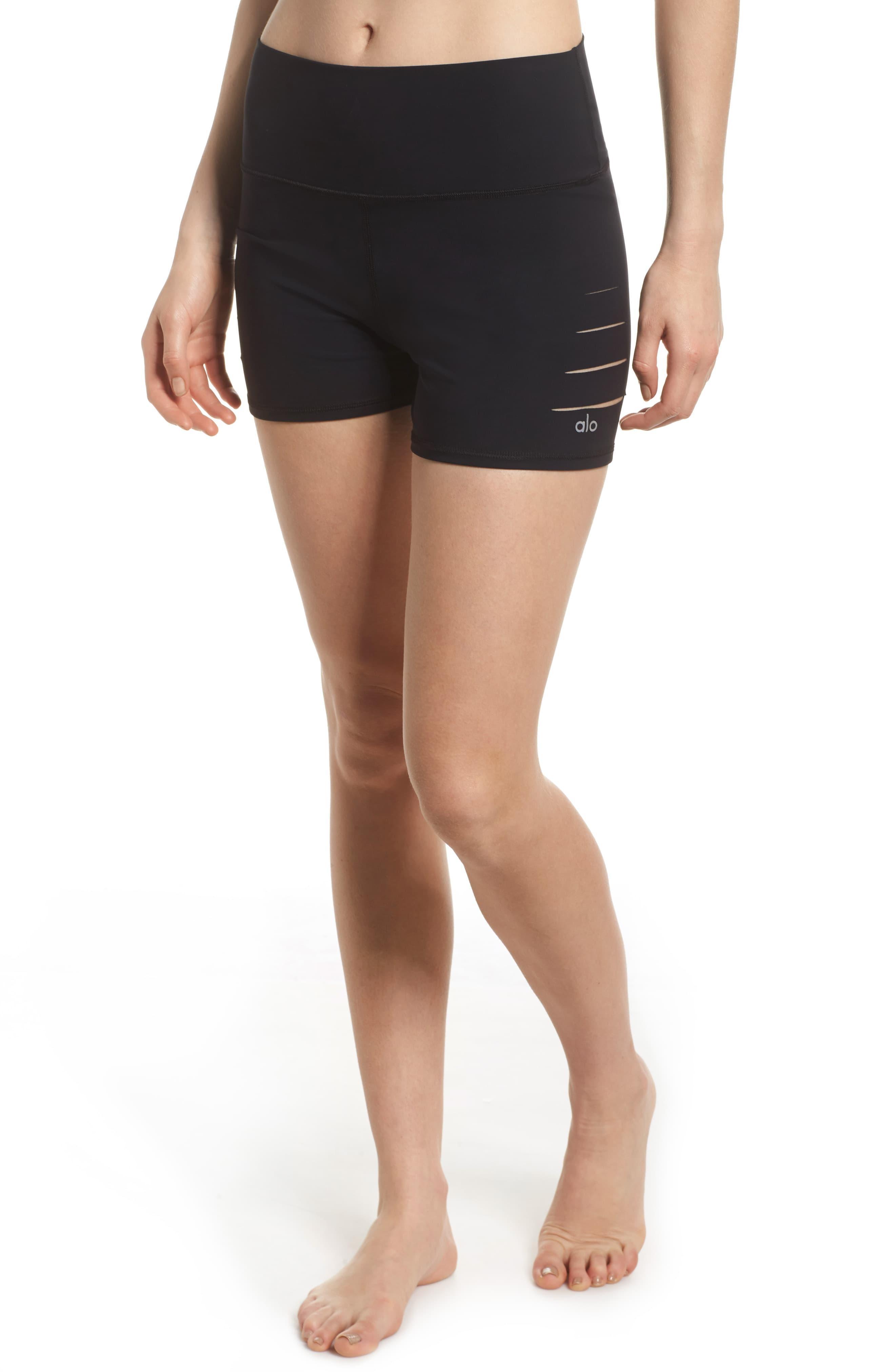 e722355ebc Alo Yoga Ripped High Waist Shorts in Black - Lyst
