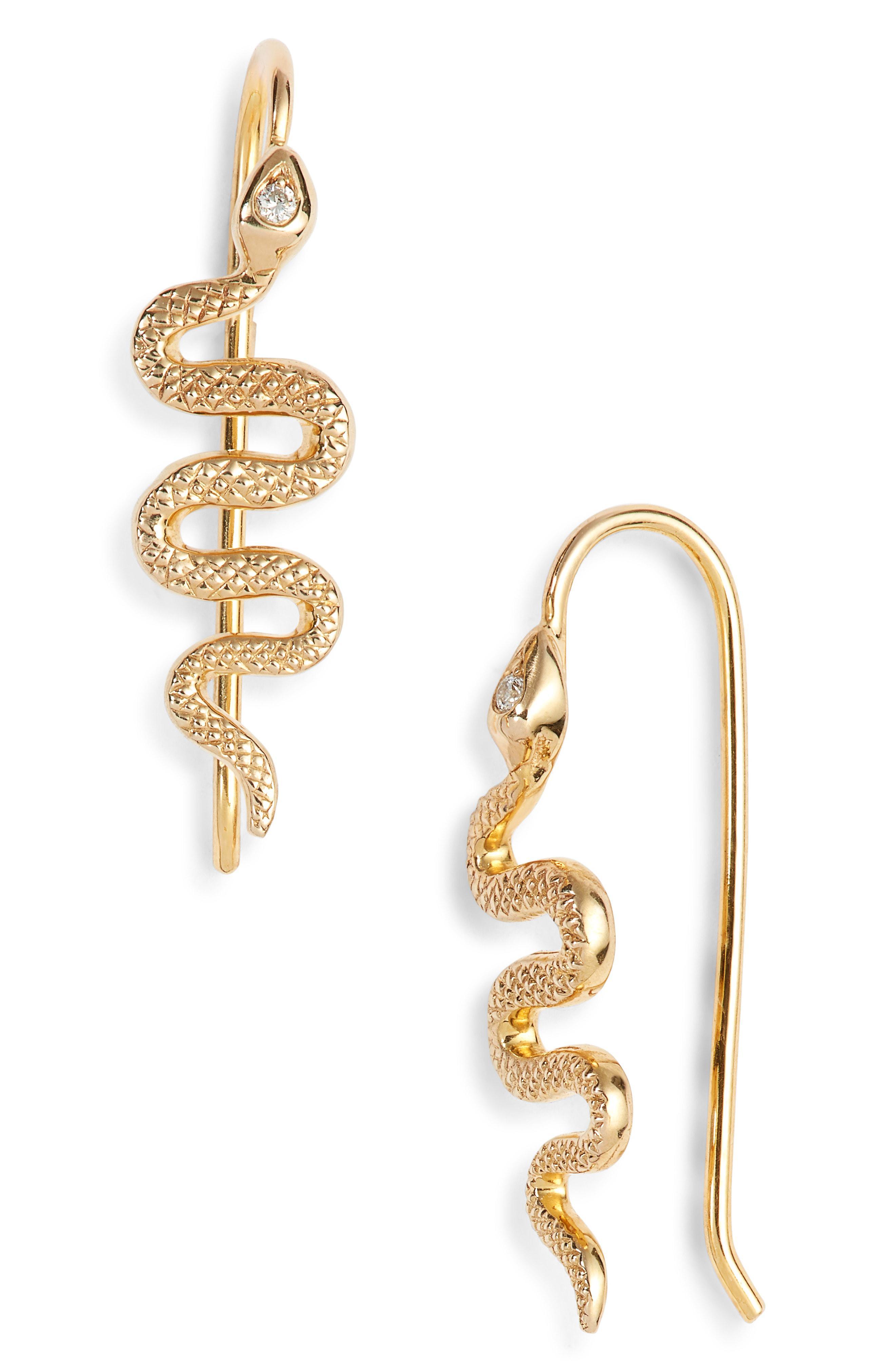Nora Kogan Women S Metallic Xenia Diamond Snake Earrings