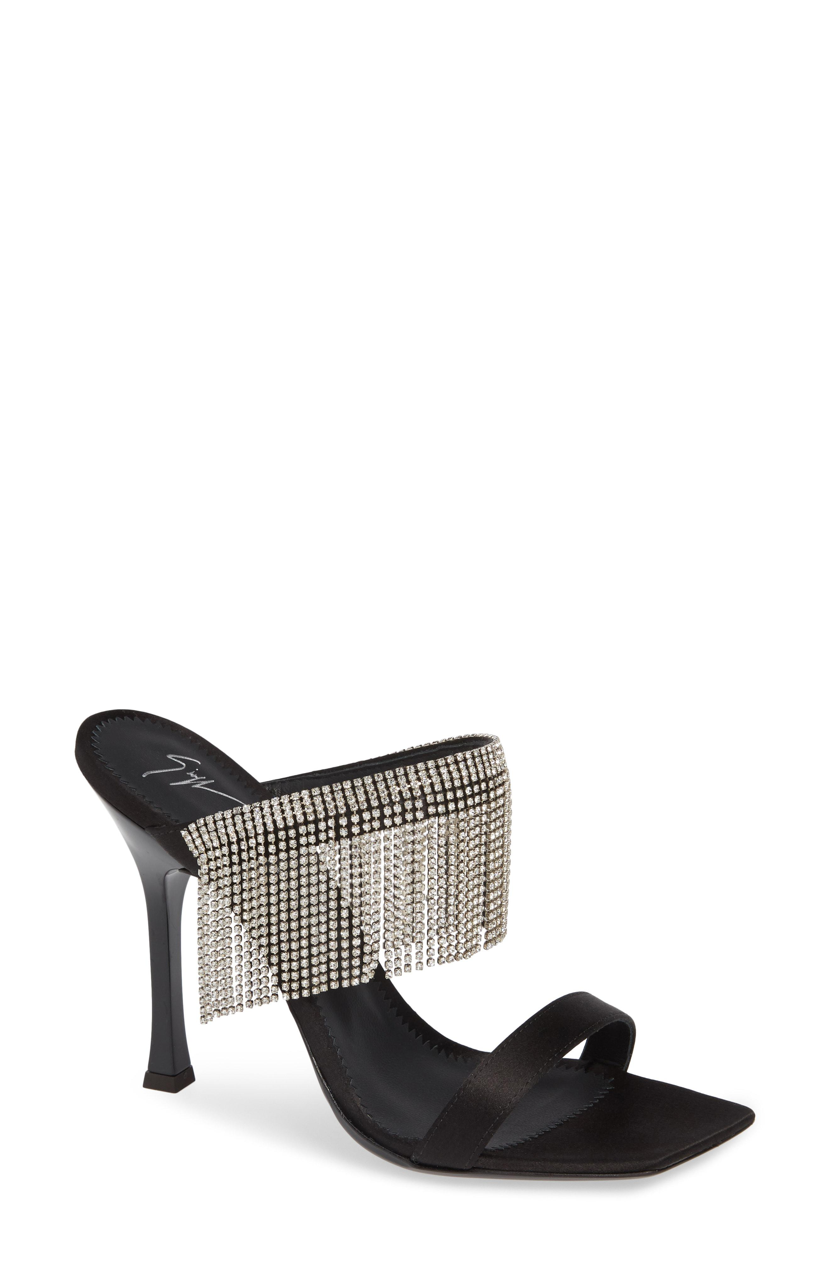 fe34378986ad9 Giuseppe Zanotti. Women's Swarovski Crystal Fringe Sandal