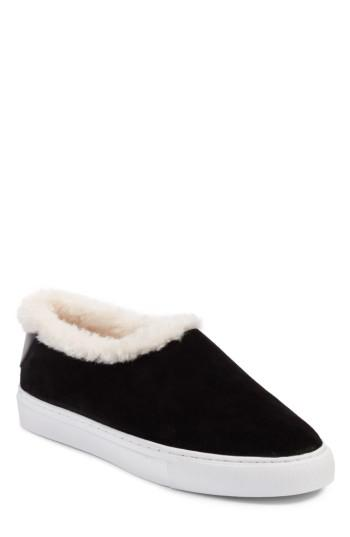 214288d3bd5 Lyst - Tory Burch Miller Suede   Genuine Shearling Sneaker in Black