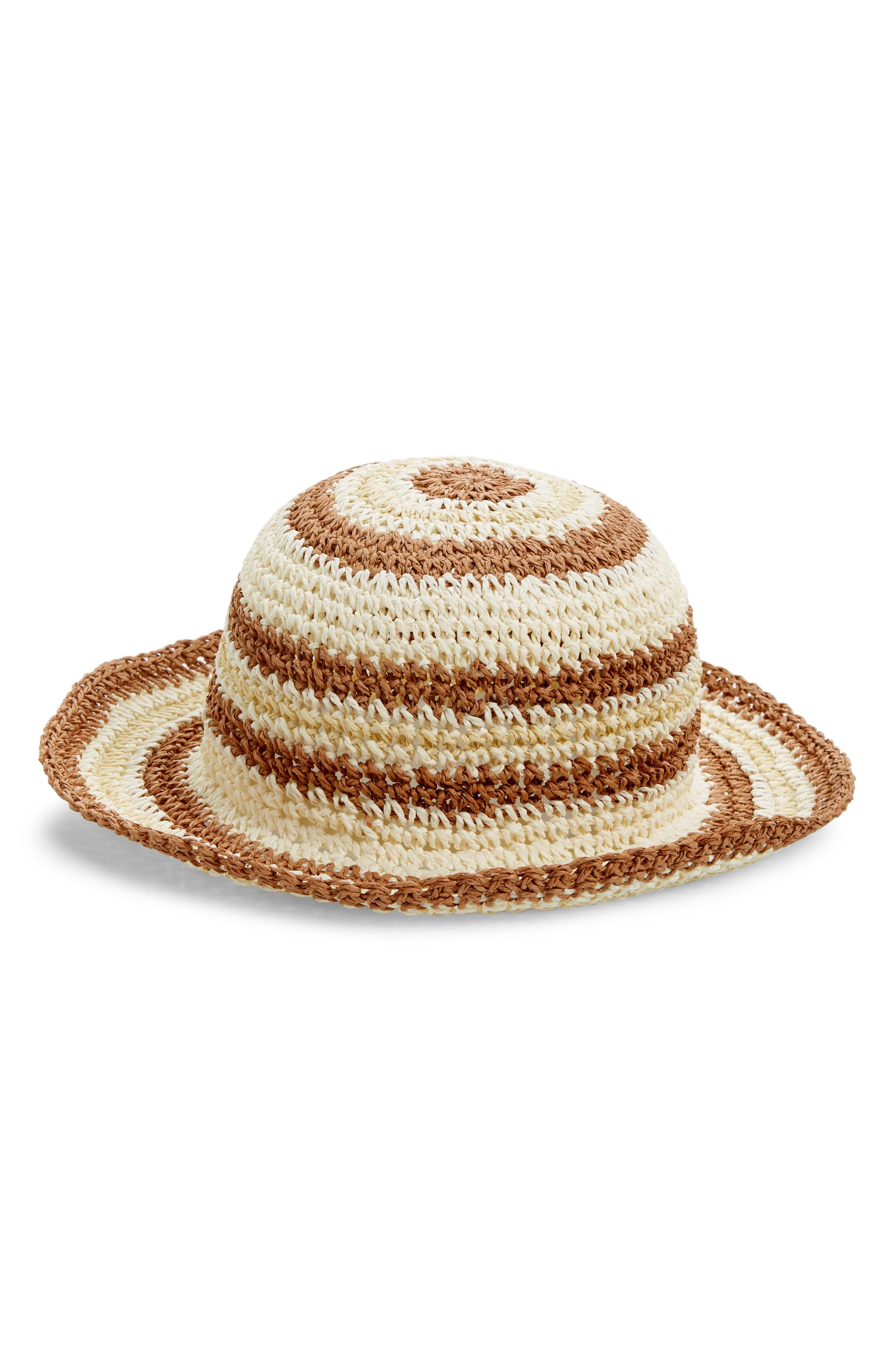 0a58edcc3be Lyst - Treasure   Bond Stripe Raffia Packable Bucket Hat in Natural