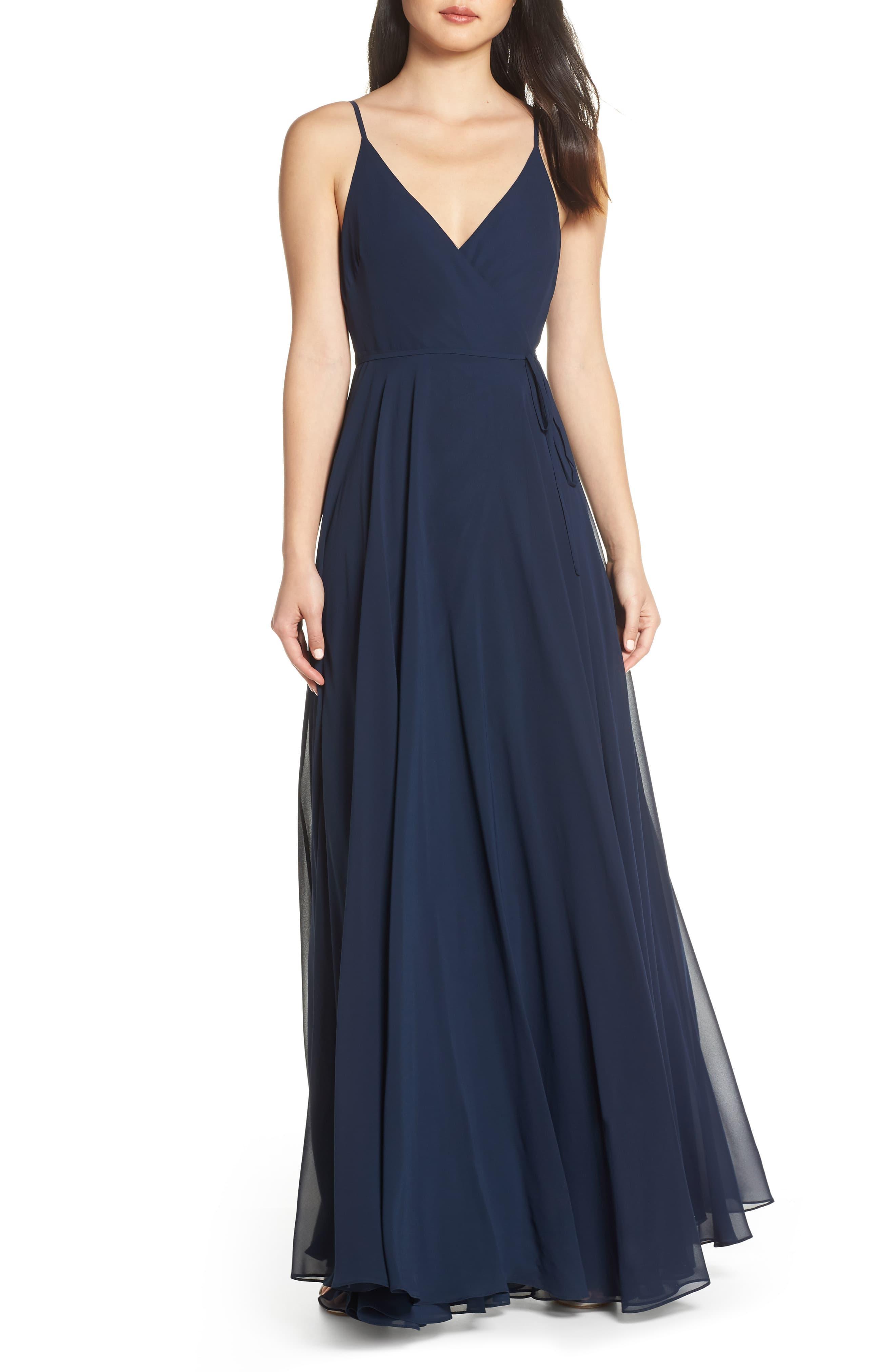 13d8e62f369 Jenny Yoo James Sleeveless Wrap Chiffon Evening Dress in Blue - Lyst