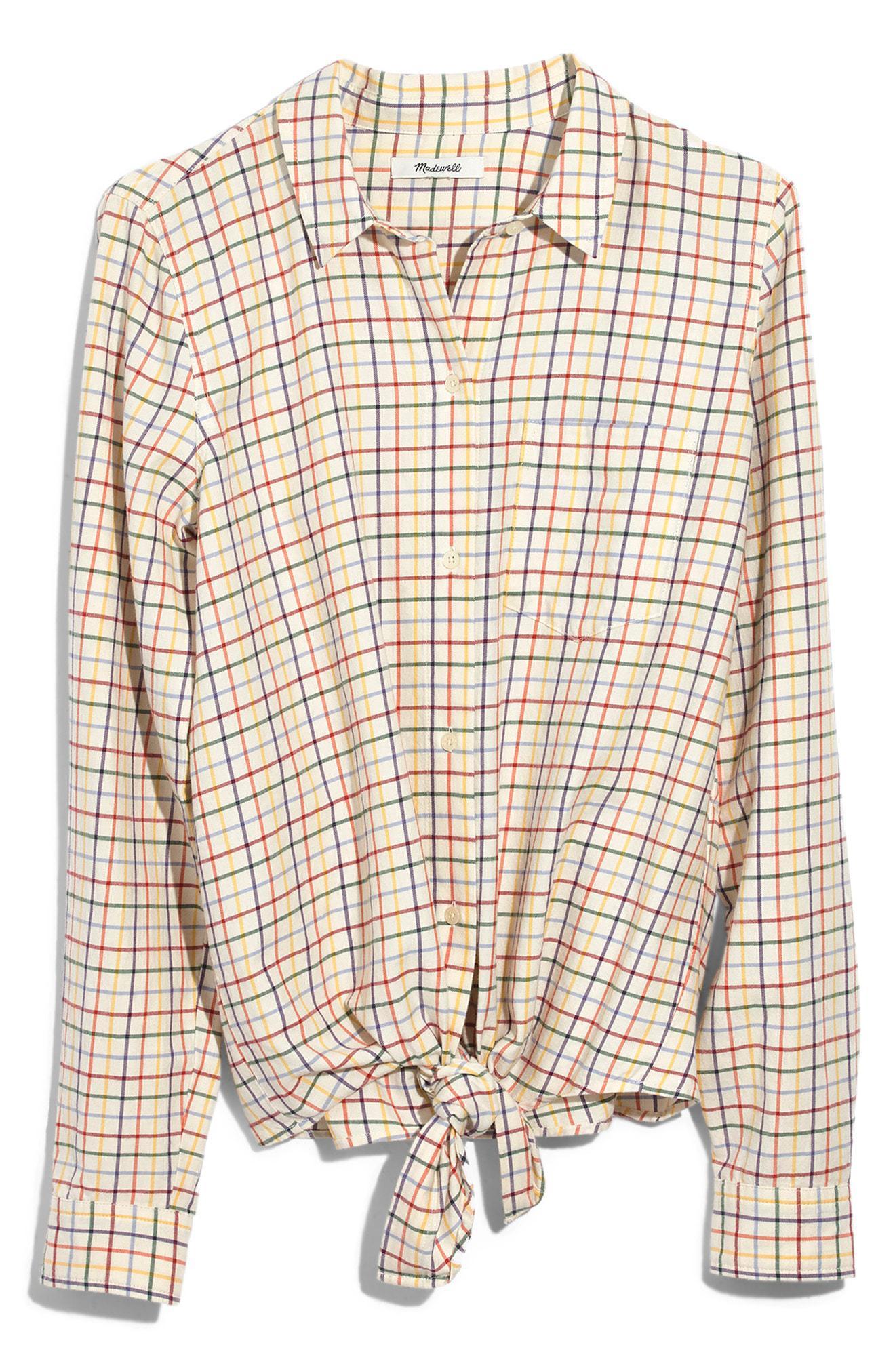 8e045d36c26 Plaid Shirts Tie Front