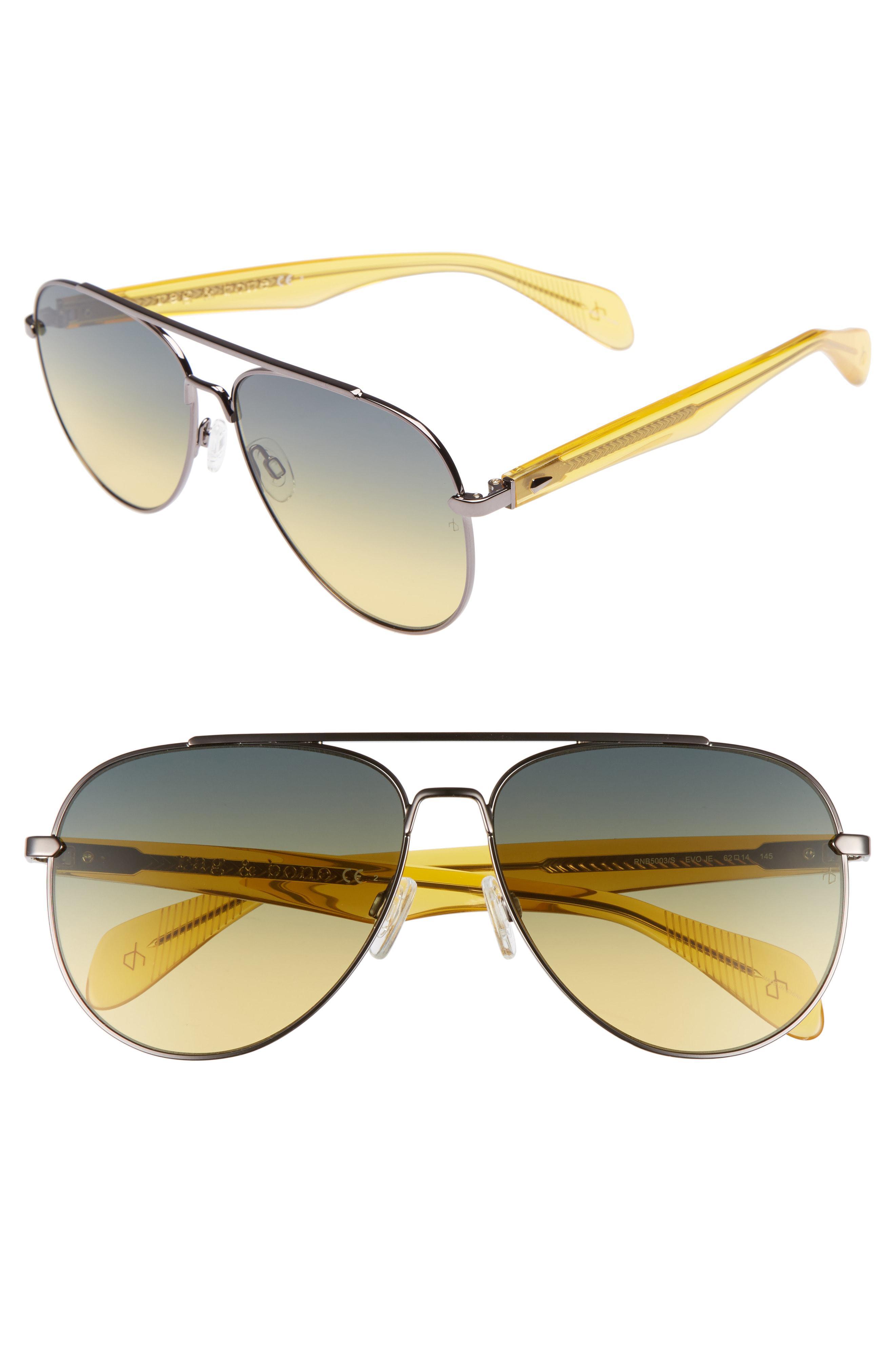 75b07ee0e632 Lyst - Rag   Bone 62mm Oversize Aviator Sunglasses - in Metallic for Men