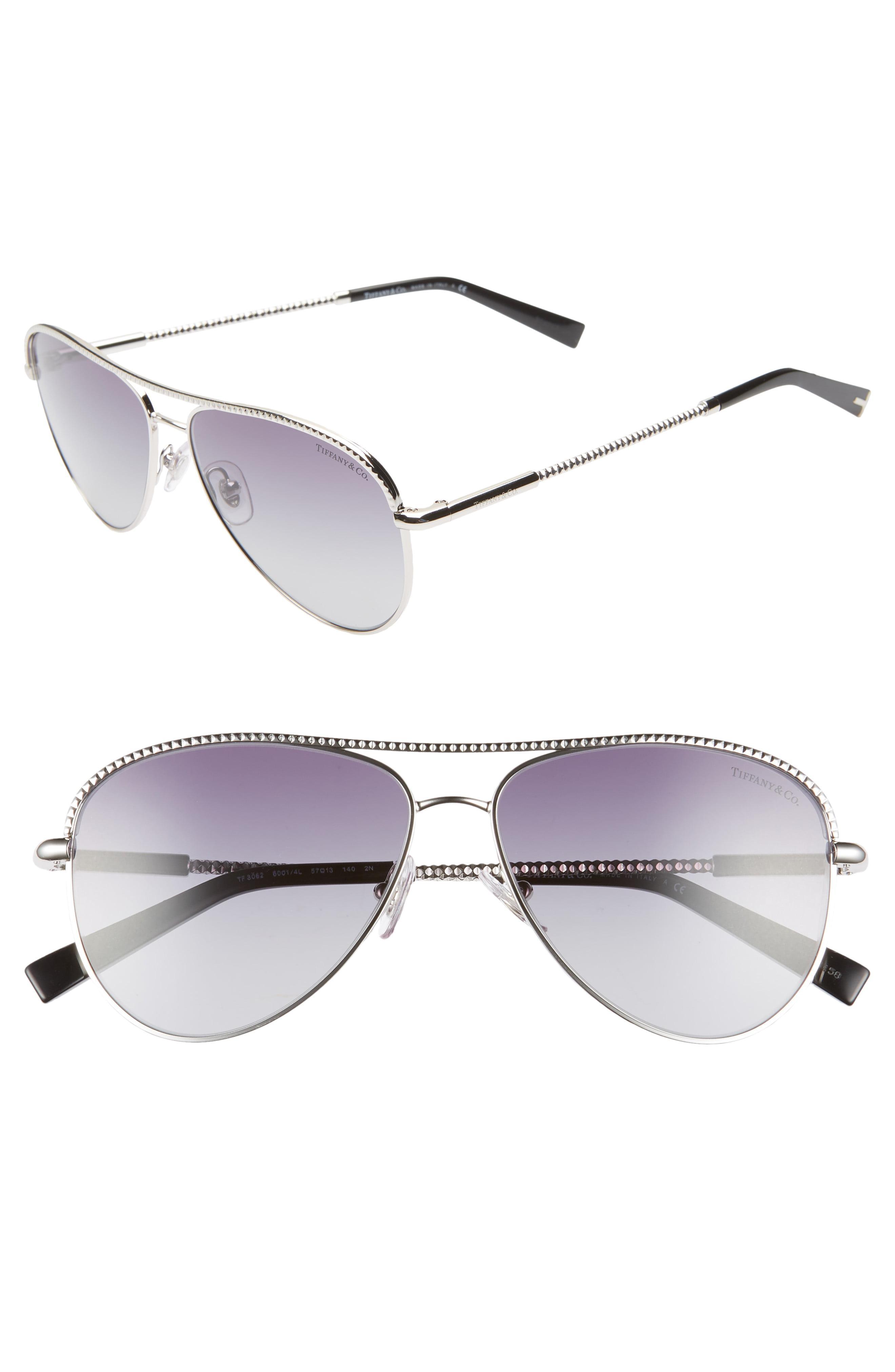 b08b3fdf99b1 Lyst - Tiffany   Co. 57mm Aviator Sunglasses in Metallic