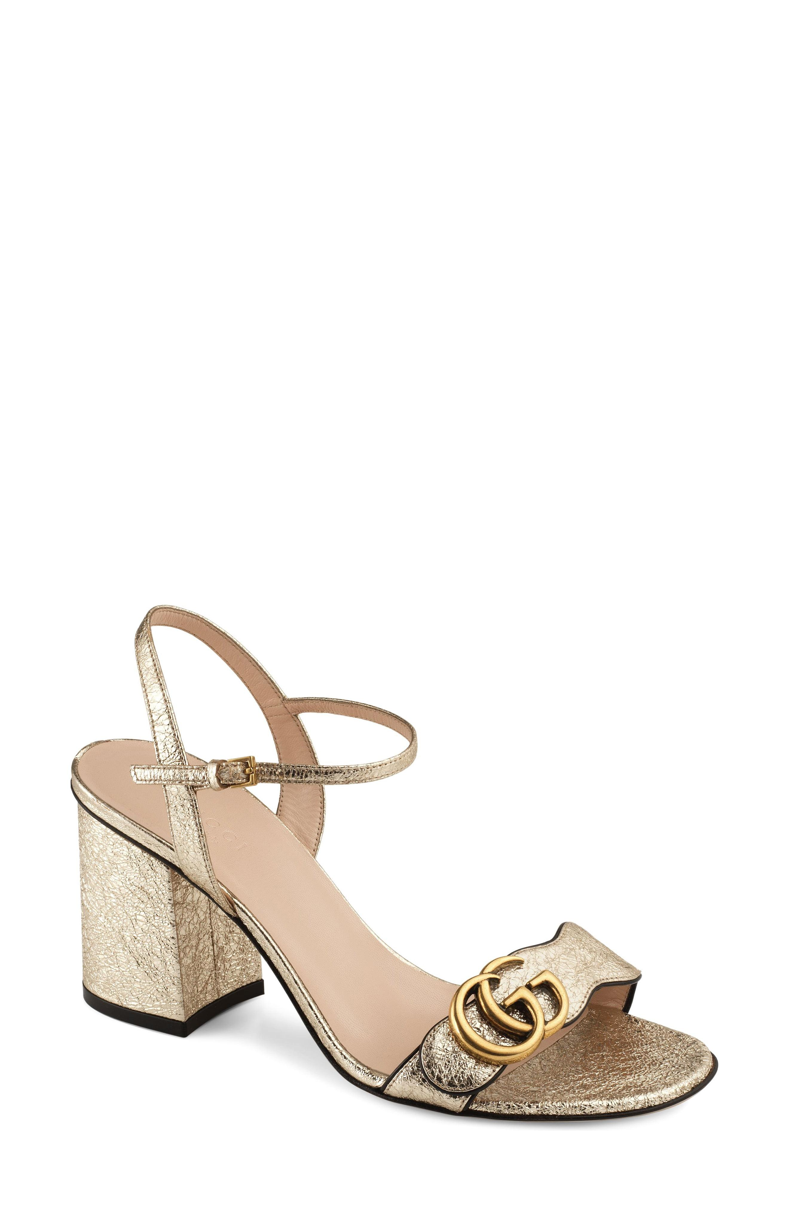 be6b97a7041 Lyst - Gucci Gg Marmont Sandal in Metallic