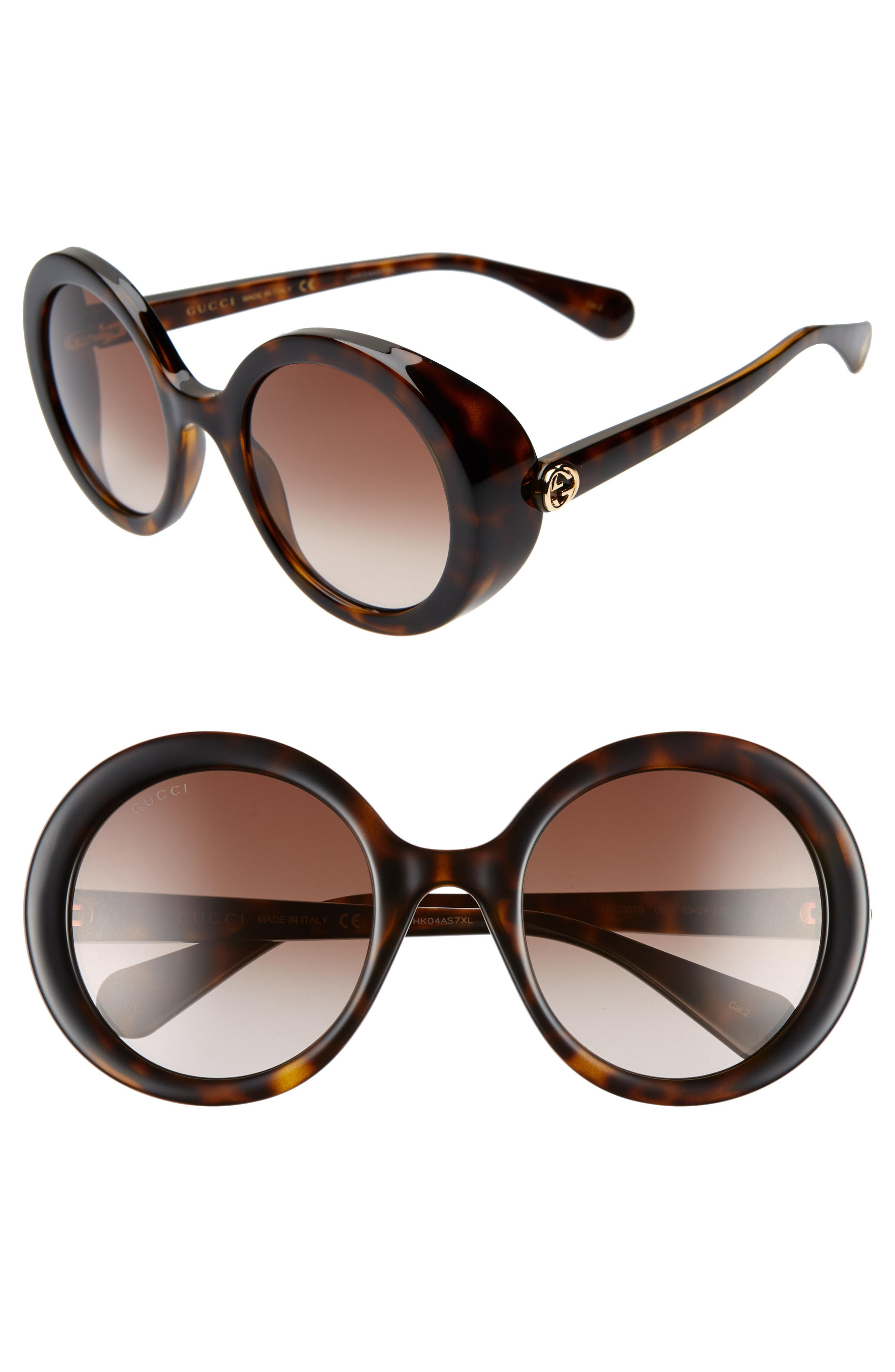 5fdfb58e1af5b Gucci - 53mm Round Sunglasses - Dark Havana  Brown Gradient - Lyst. View  fullscreen