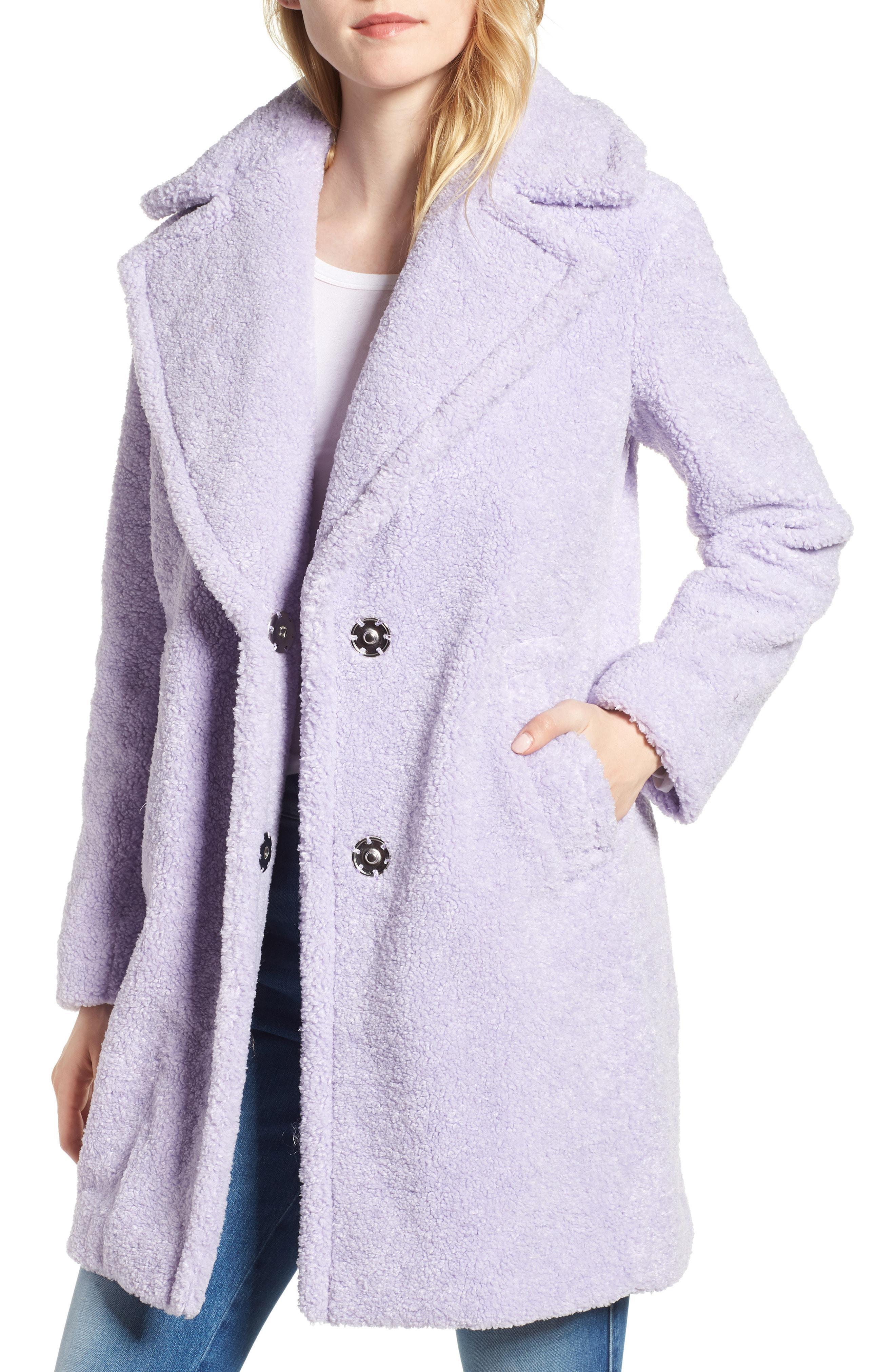 Kensie Faux Fur Teddy Bear Coat In Purple Lyst