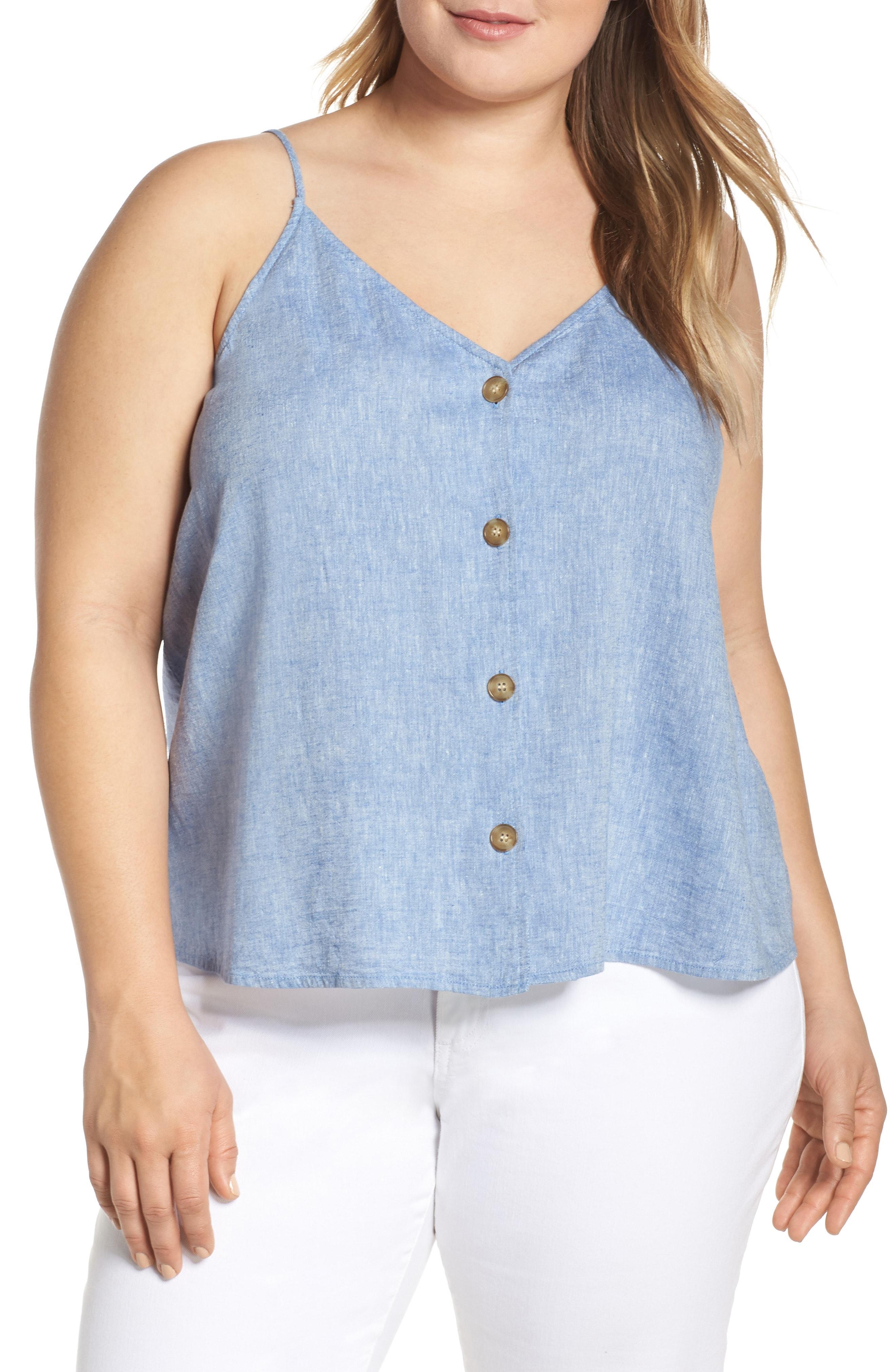 563e22ac8 Lyst - BP. Button Front Linen Blend Camisole Top in Blue