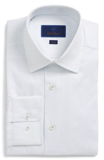 Lyst David Donahue Trim Fit Dot Dress Shirt In White For Men