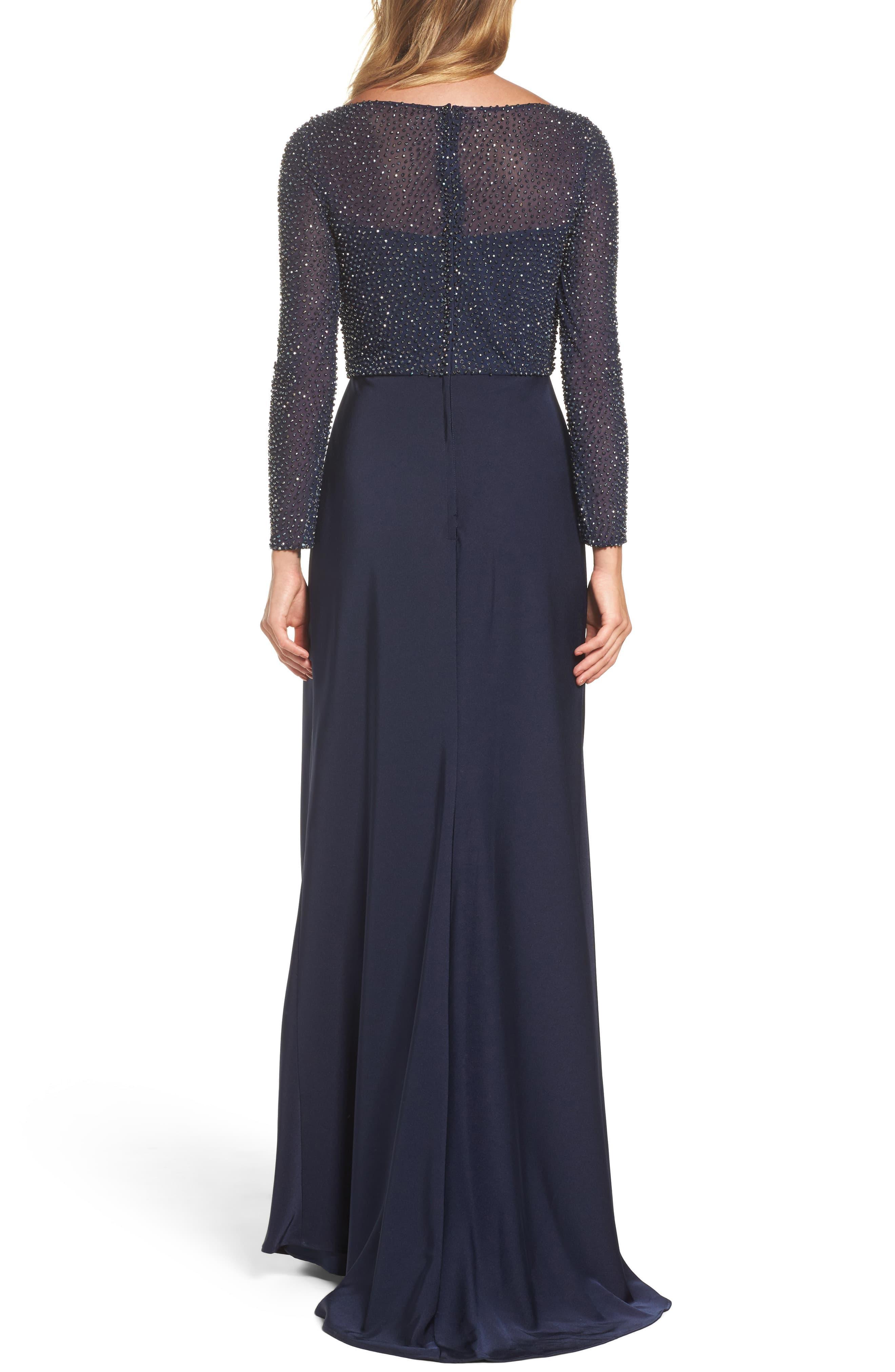7429132ed41 La Femme - Blue Bead Embellished Gown - Lyst. View fullscreen
